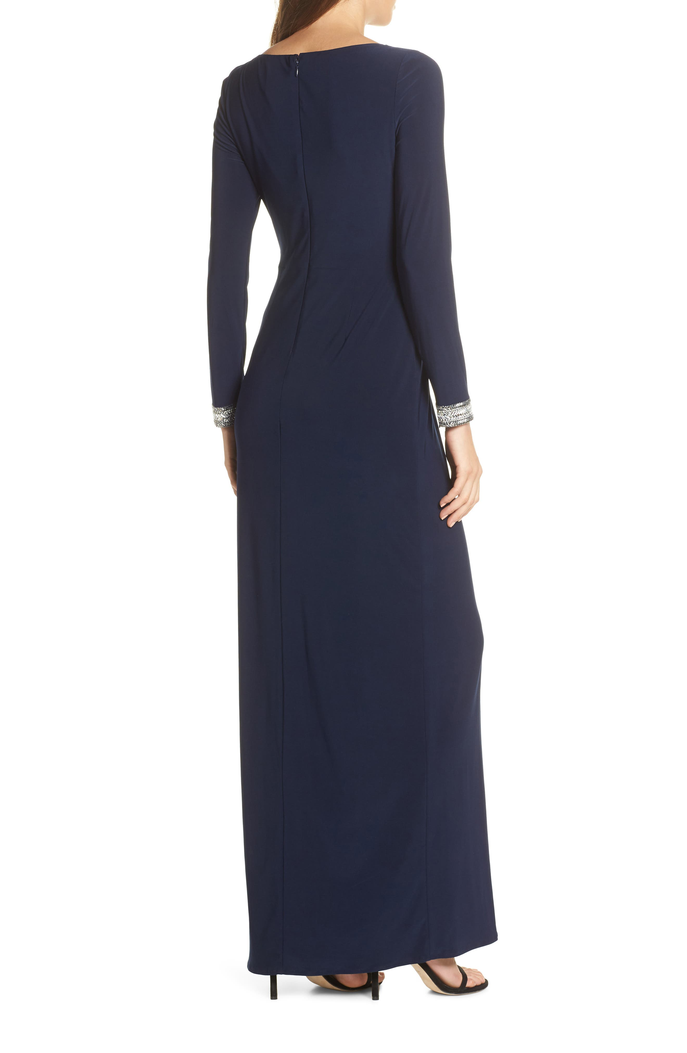 VINCE CAMUTO, Beaded Cuff Ruched Jersey Dress, Alternate thumbnail 2, color, NAVY