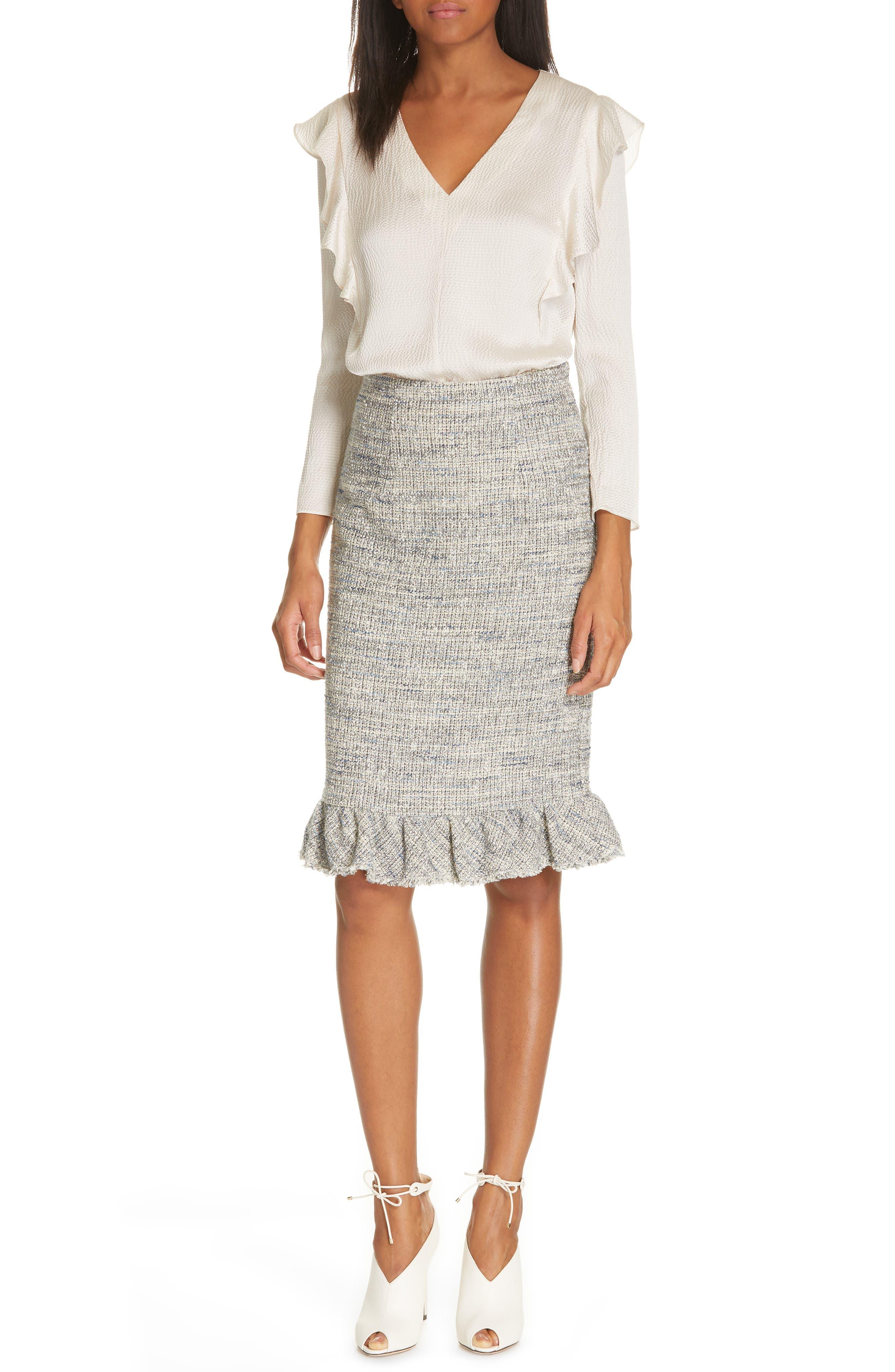 REBECCA TAYLOR, Tweed Ruffle Hem Skirt, Alternate thumbnail 7, color, 020
