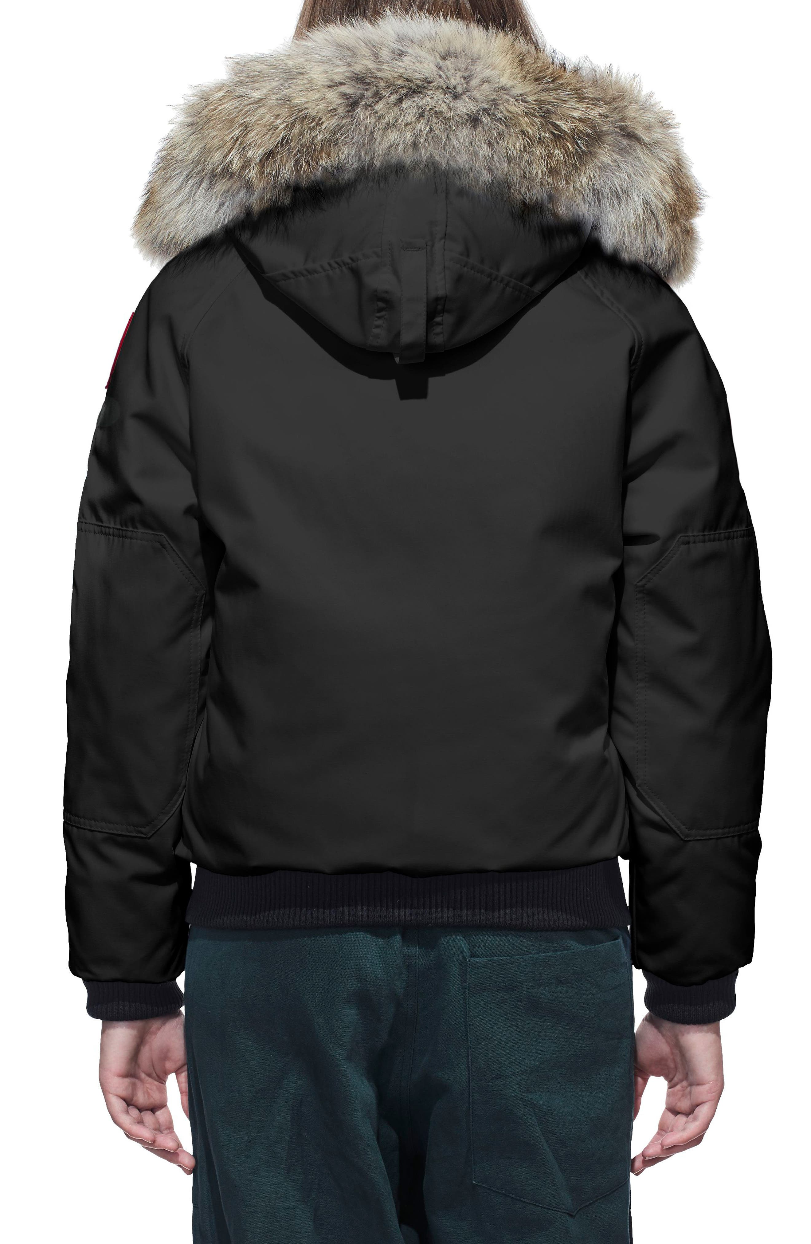 CANADA GOOSE, Chilliwack Fusion Fit 625 Fill Power Down Bomber Jacket with Genuine Coyote Fur Trim, Alternate thumbnail 2, color, BLACK