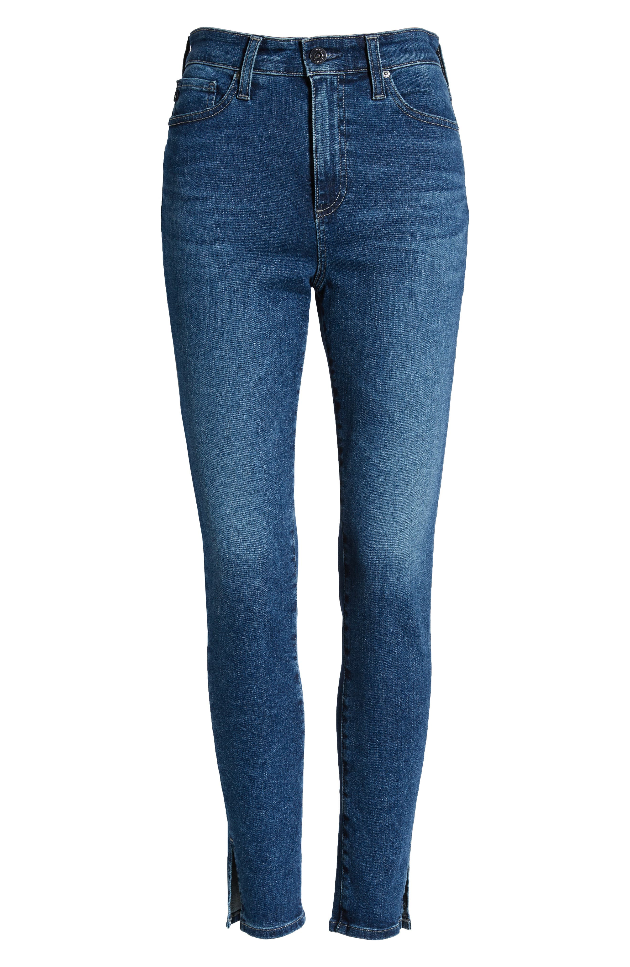 AG, The Mila Super High Waist Ankle Skinny Jeans, Alternate thumbnail 7, color, CRYSTAL CLARITY