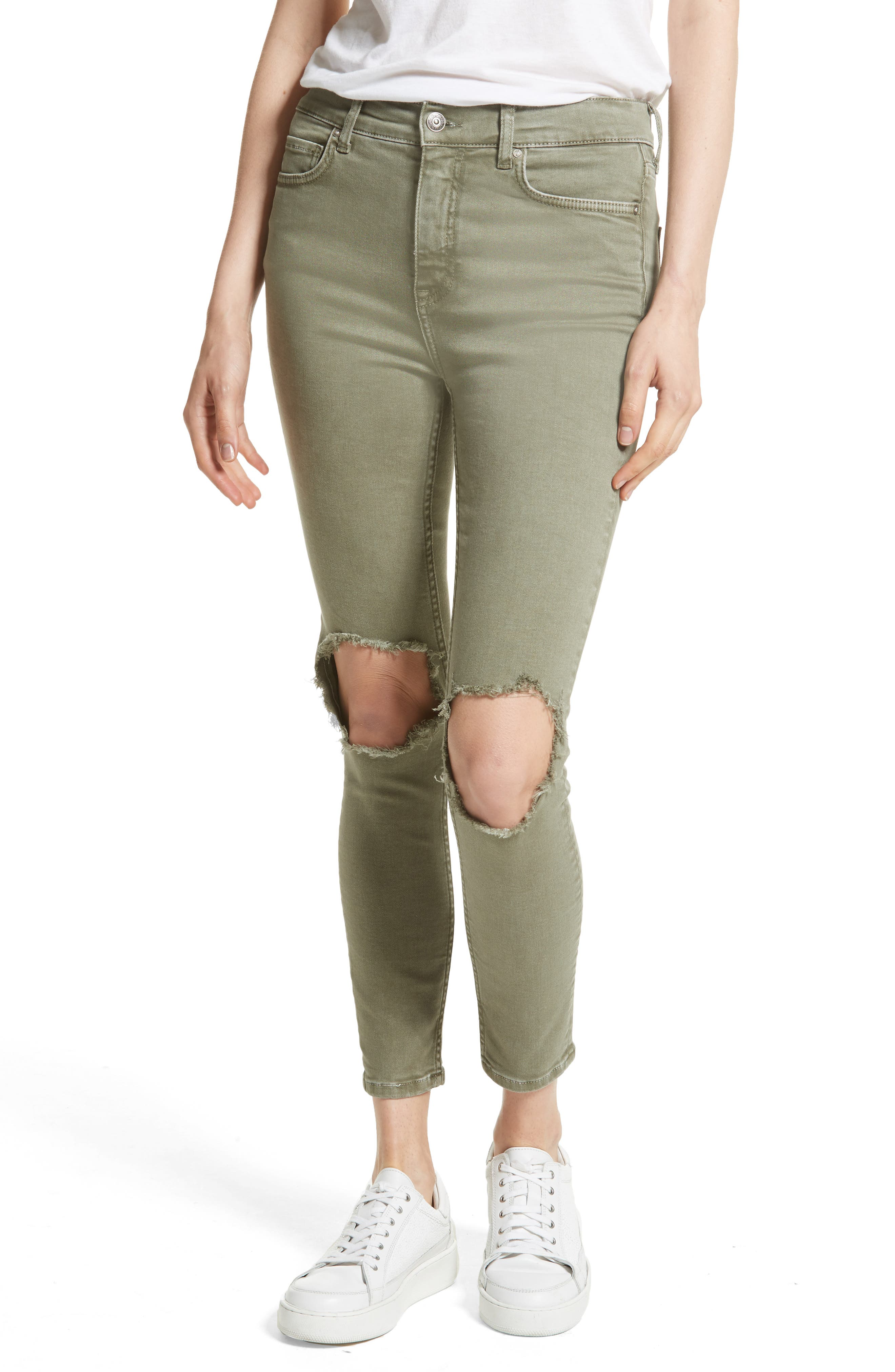 FREE PEOPLE, We the Free by Free People High Rise Busted Knee Skinny Jeans, Main thumbnail 1, color, 303