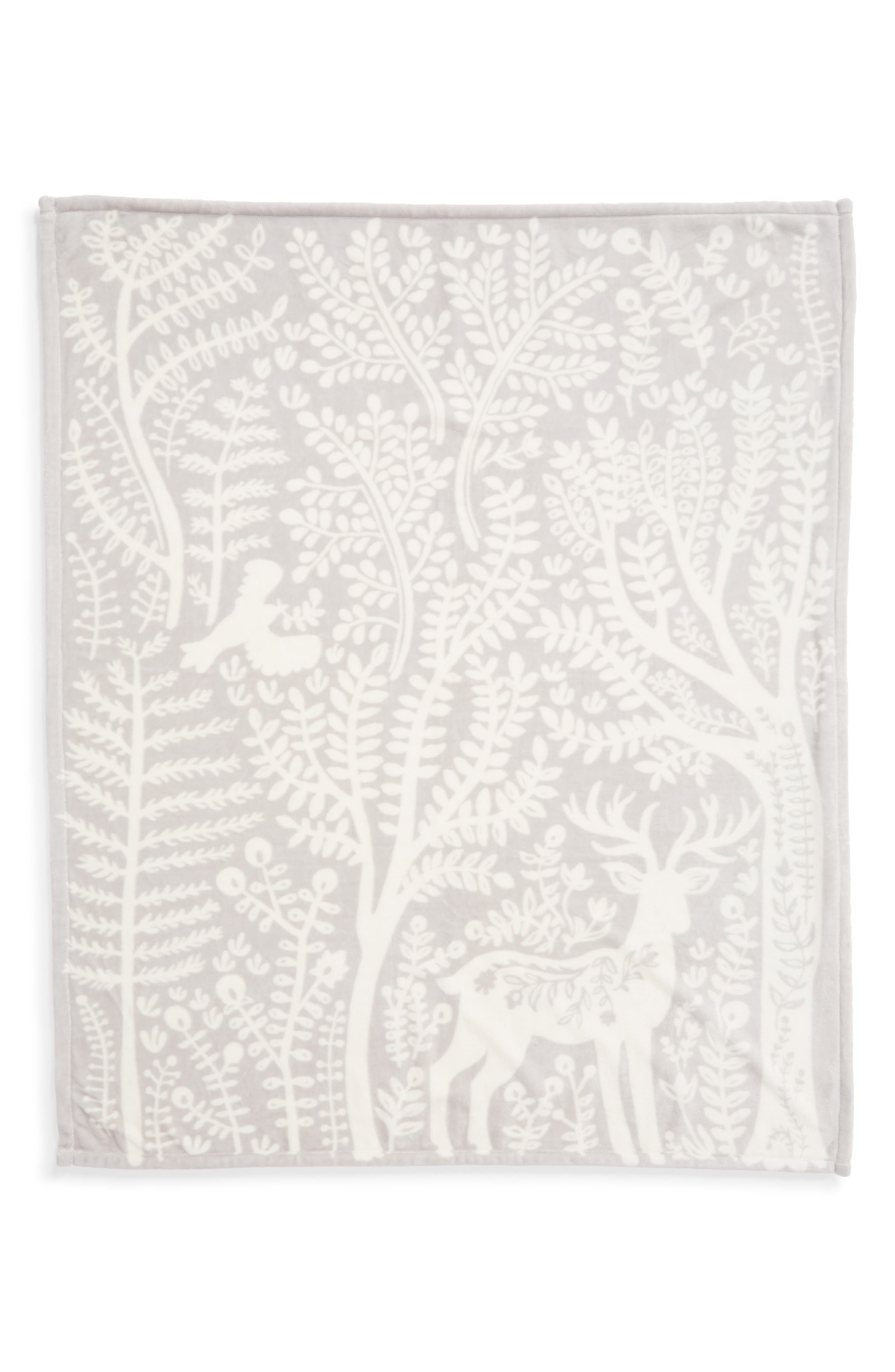 NORDSTROM AT HOME, Winter Woods Plush Throw, Alternate thumbnail 2, color, 021