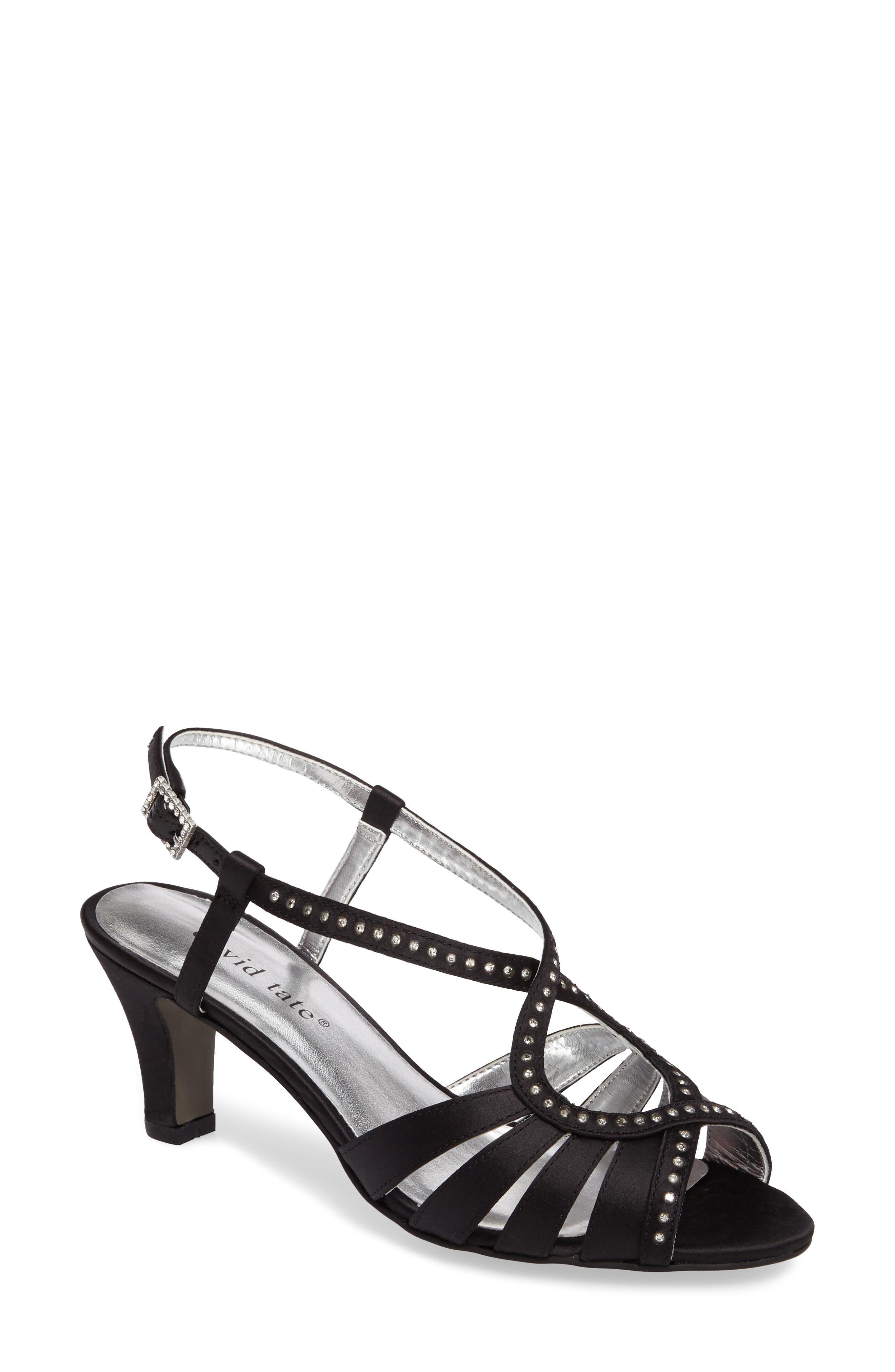 DAVID TATE Whisper Slingback Sandal, Main, color, BLACK SATIN