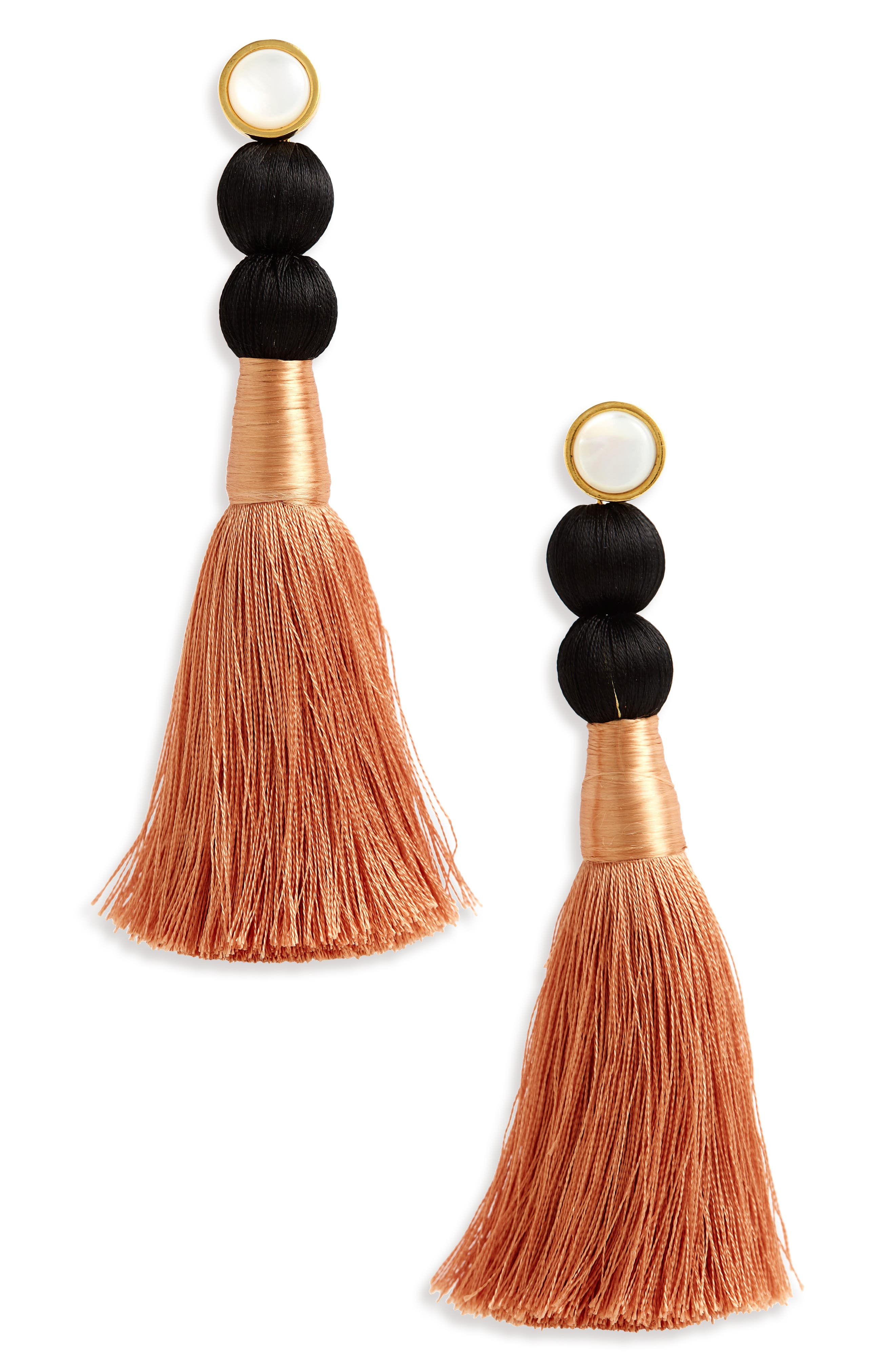 LIZZIE FORTUNATO, Modern Craft Pearl Tassel Earrings, Main thumbnail 1, color, ROSE