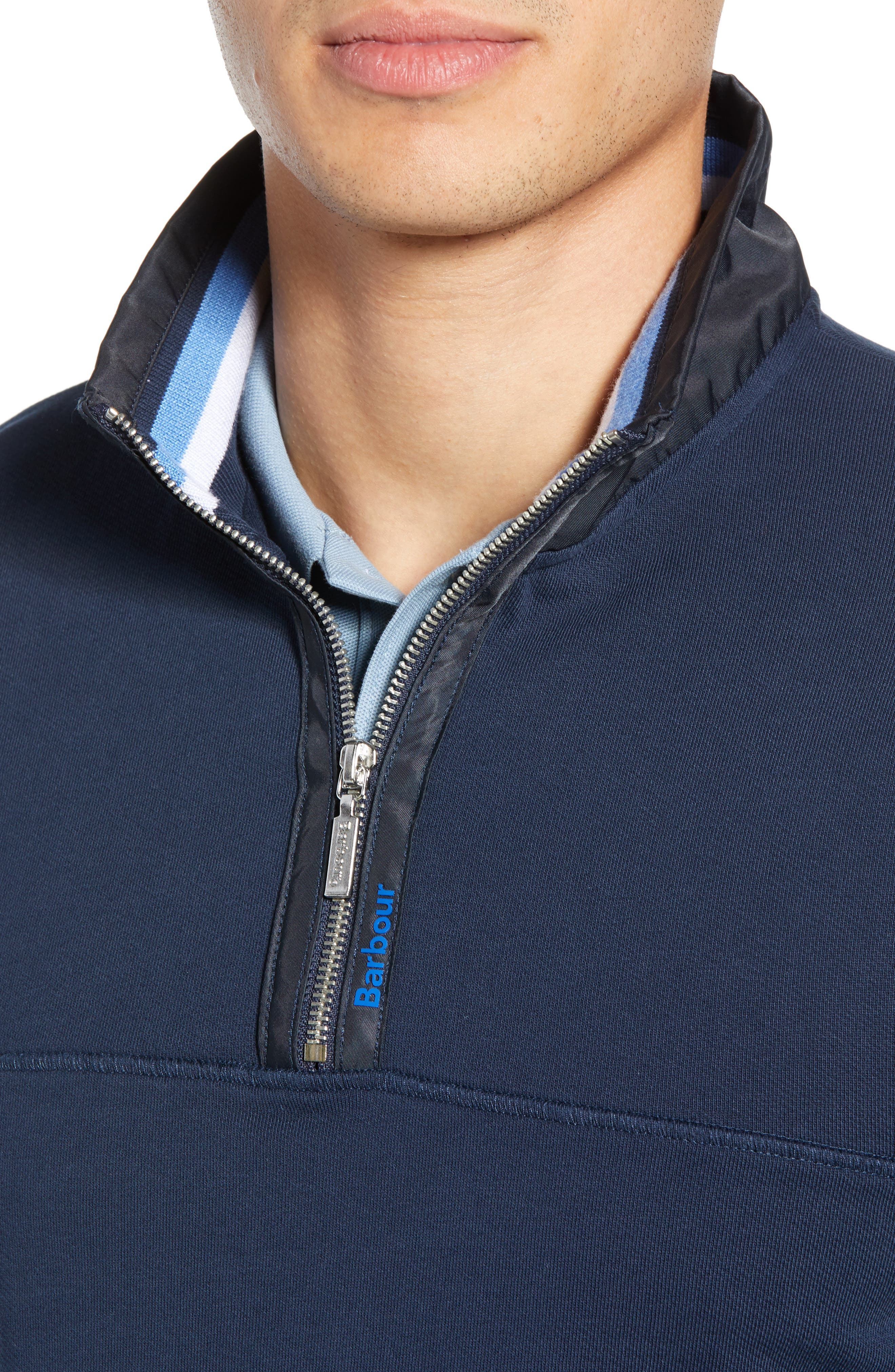 BARBOUR, Seward Half Zip Pullover, Alternate thumbnail 5, color, NAVY