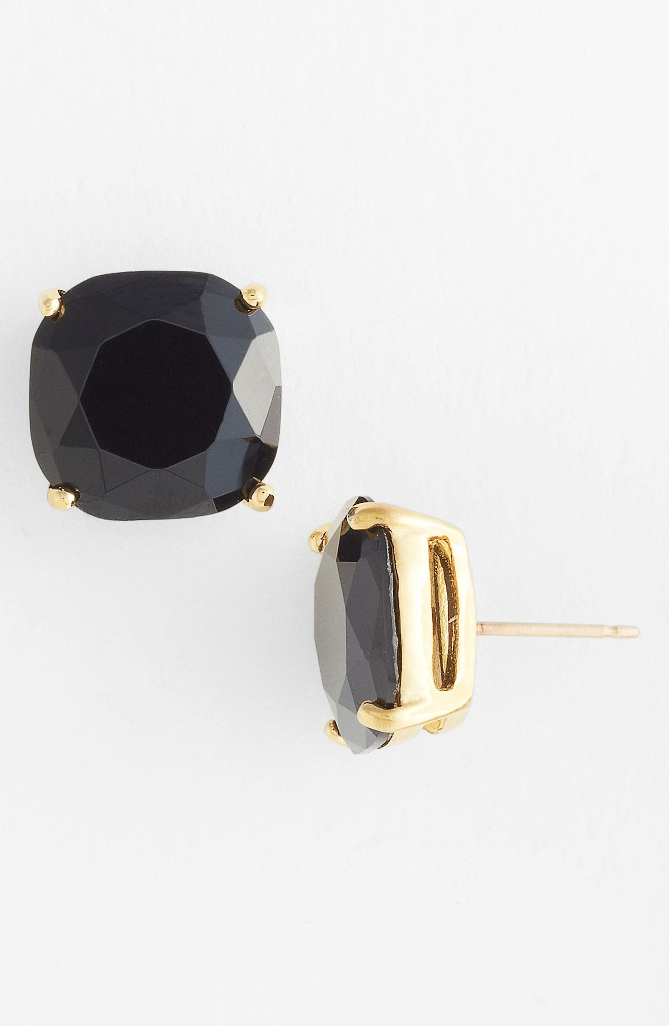 KATE SPADE NEW YORK, mini small square semiprecious stone stud earrings, Main thumbnail 1, color, JET/ GOLD