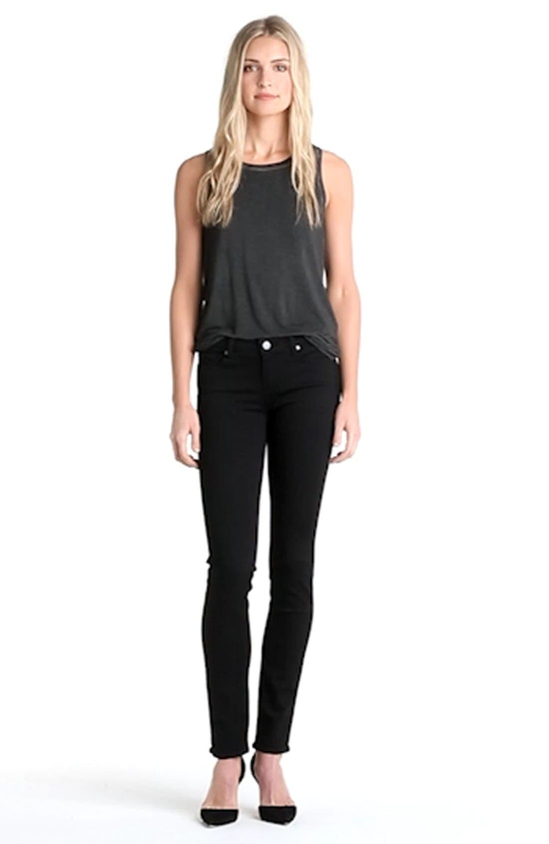 PAIGE, Transcend - Skyline Skinny Jeans, Alternate thumbnail 11, color, BLACK SHADOW