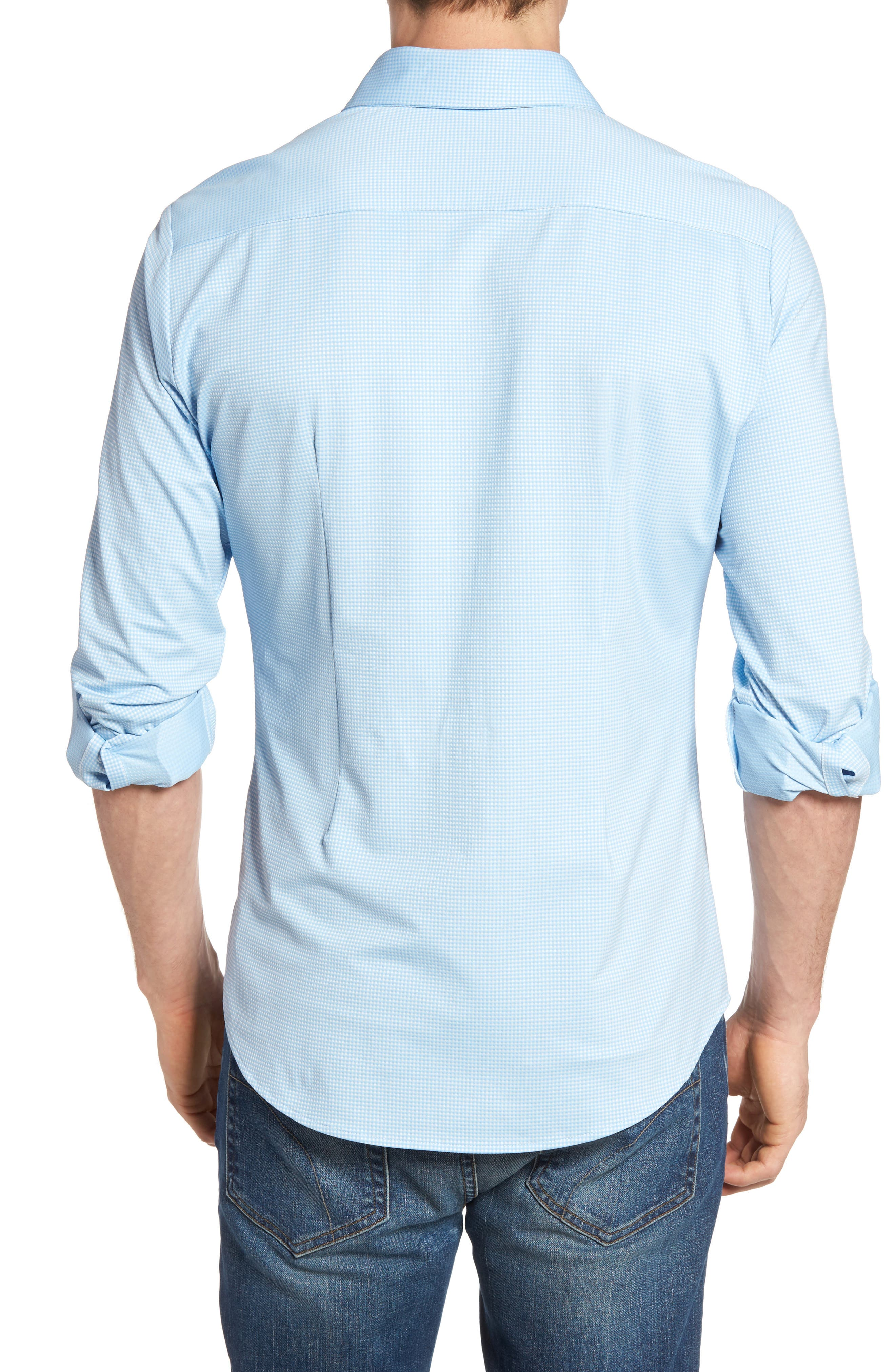 MIZZEN+MAIN, Whitman Trim Fit Dobby Gingham Performance Sport Shirt, Alternate thumbnail 2, color, BLUE