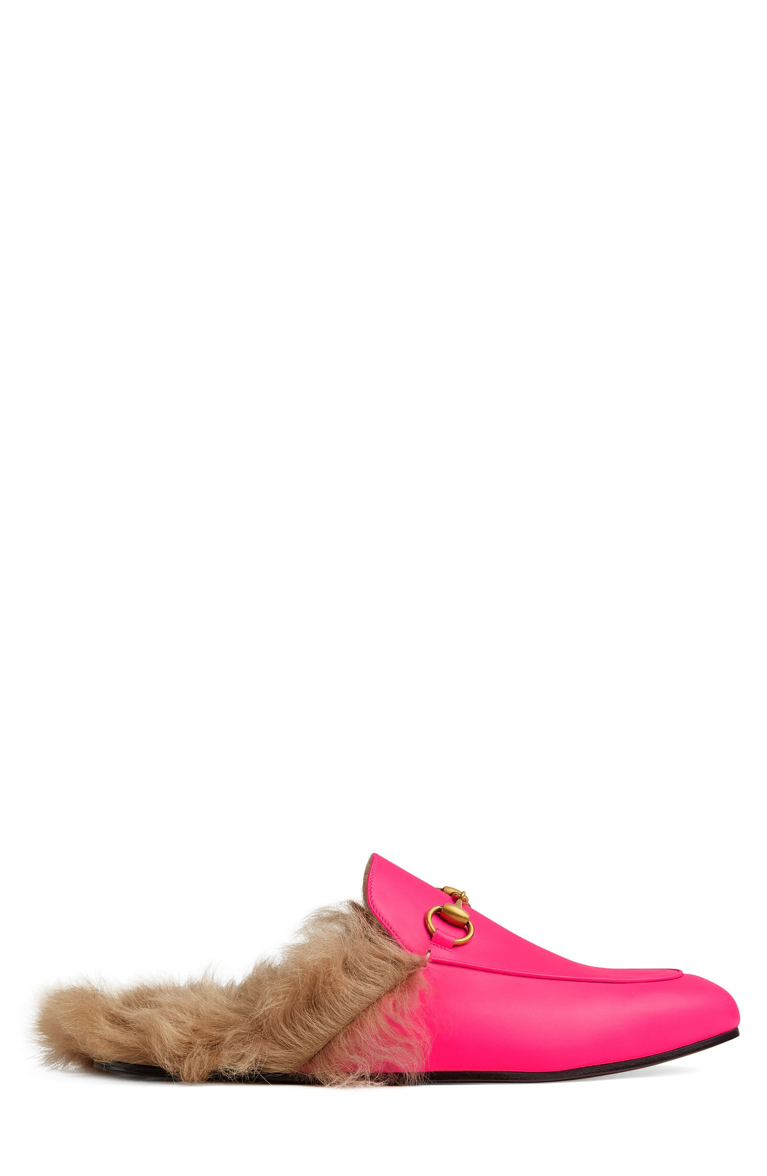 GUCCI, Princetown Genuine Shearling Lined Mule Loafer, Alternate thumbnail 2, color, PINK/ PINK