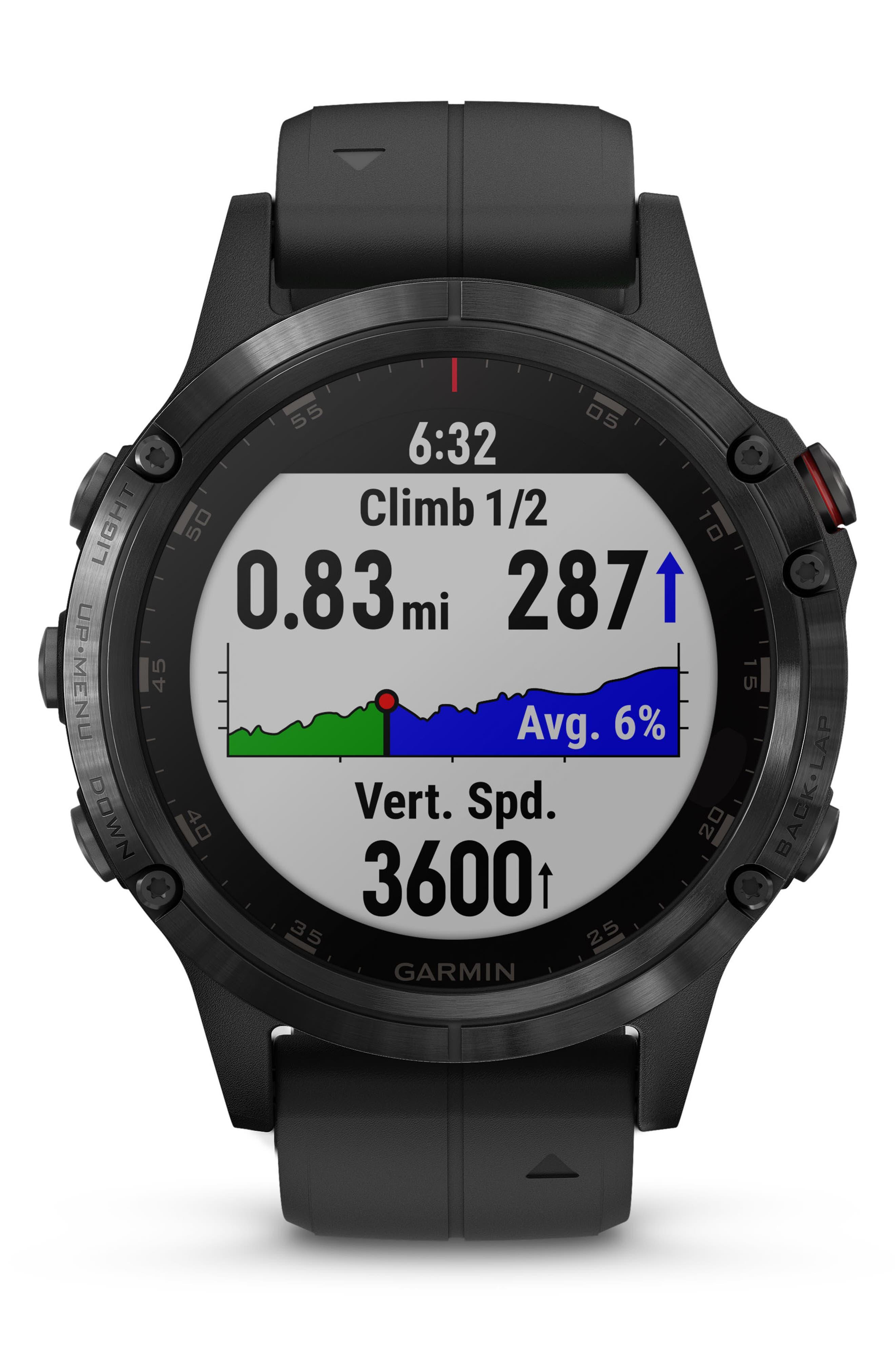 GARMIN, fenix<sup>®</sup> 5 Plus Sapphire Premium Multisport GPS Watch, 47mm, Alternate thumbnail 8, color, BLACK