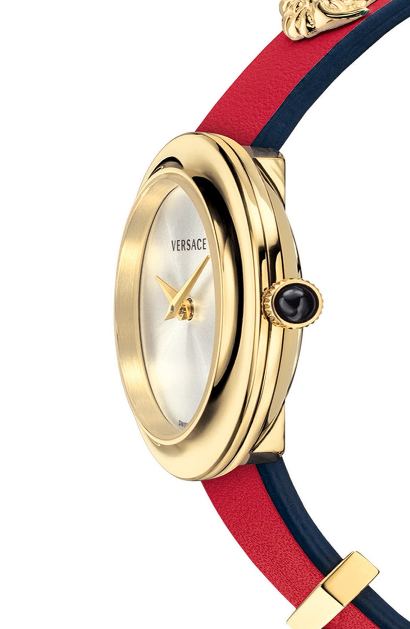 VERSACE, V-Flare Double Wrap Leather Strap Watch, 28mm, Alternate thumbnail 3, color, RED/ SILVER/ GOLD