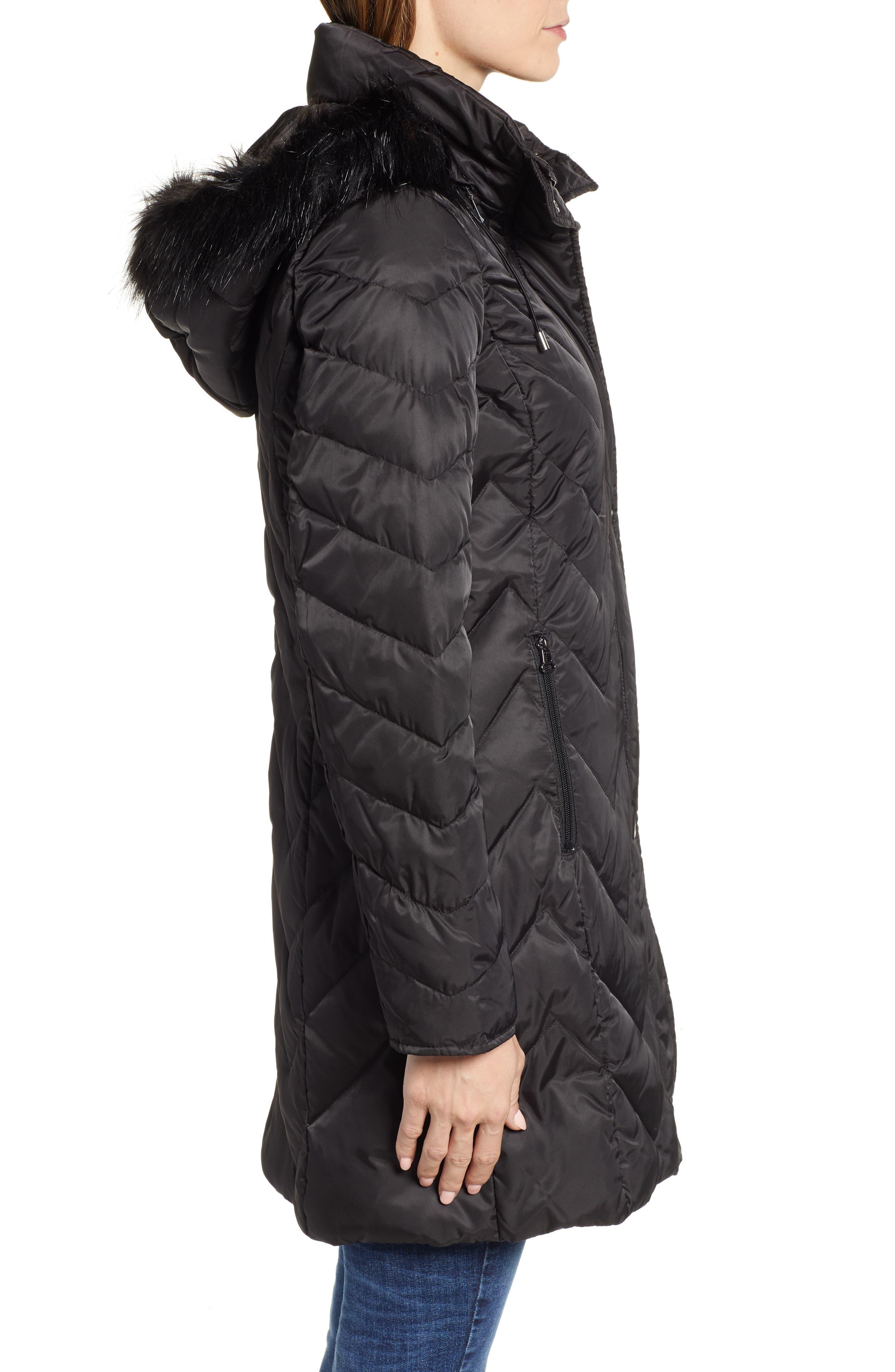 MARC NEW YORK, Matte Satin Chevron Faux Fur Trim Coat, Alternate thumbnail 4, color, BLACK