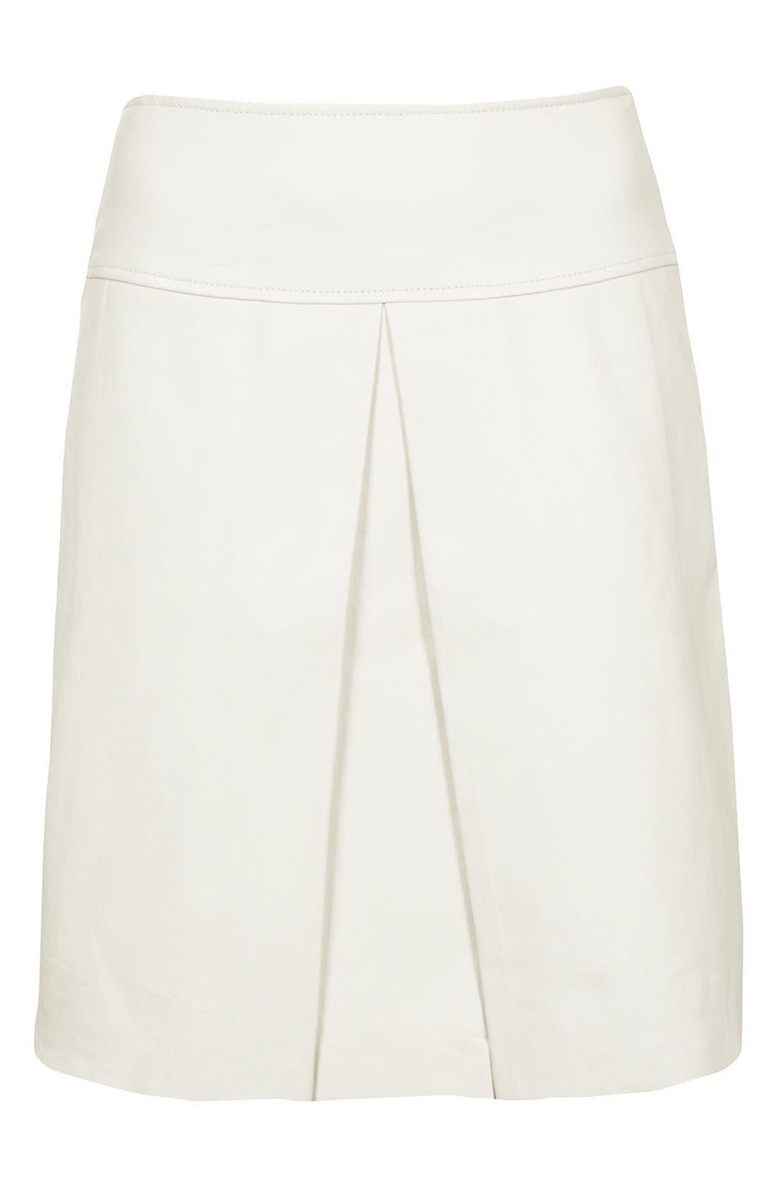 TOPSHOP, 'The Collection Starring Kate Bosworth' Leather Skirt, Main thumbnail 1, color, 100