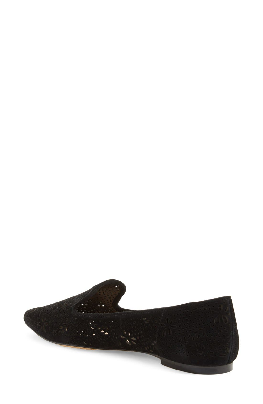 VINCE CAMUTO, 'Earina' Perforated Flat, Alternate thumbnail 2, color, 001