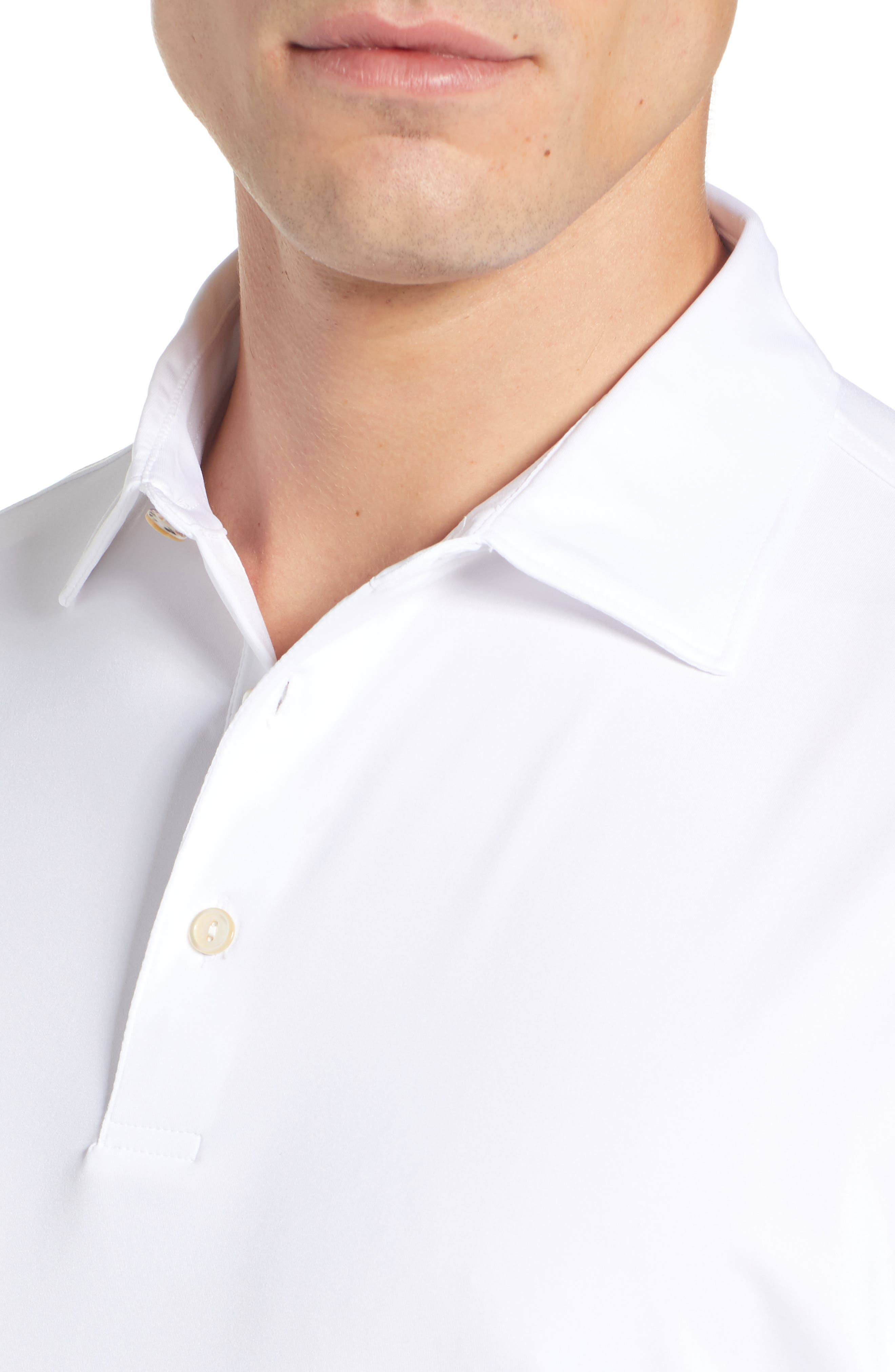 PETER MILLAR, Sean Regular Fit Stretch Jersey Polo, Alternate thumbnail 4, color, WHITE