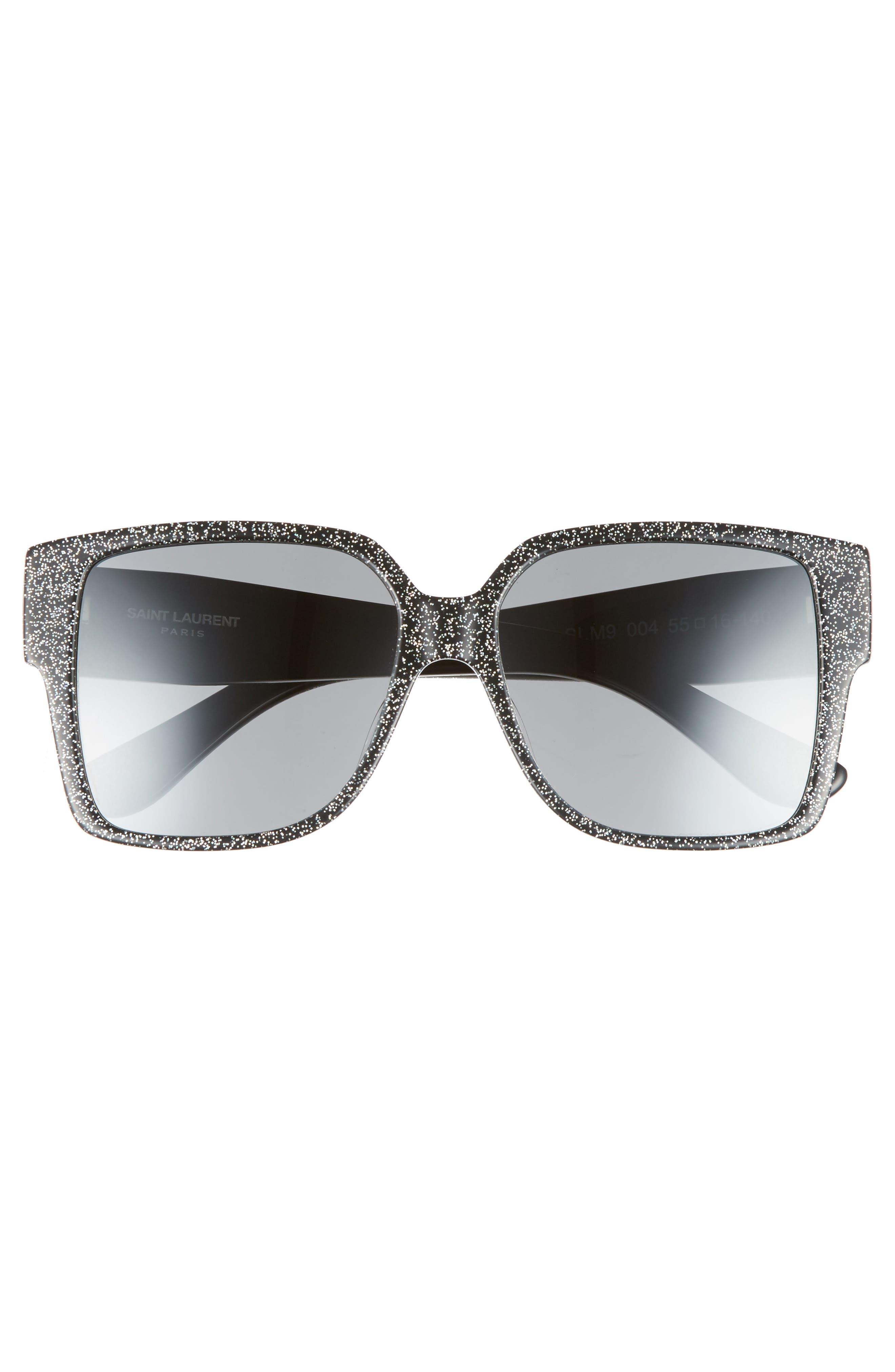 SAINT LAURENT, 55mm Square Sunglasses, Alternate thumbnail 3, color, MULTI/ SILVER