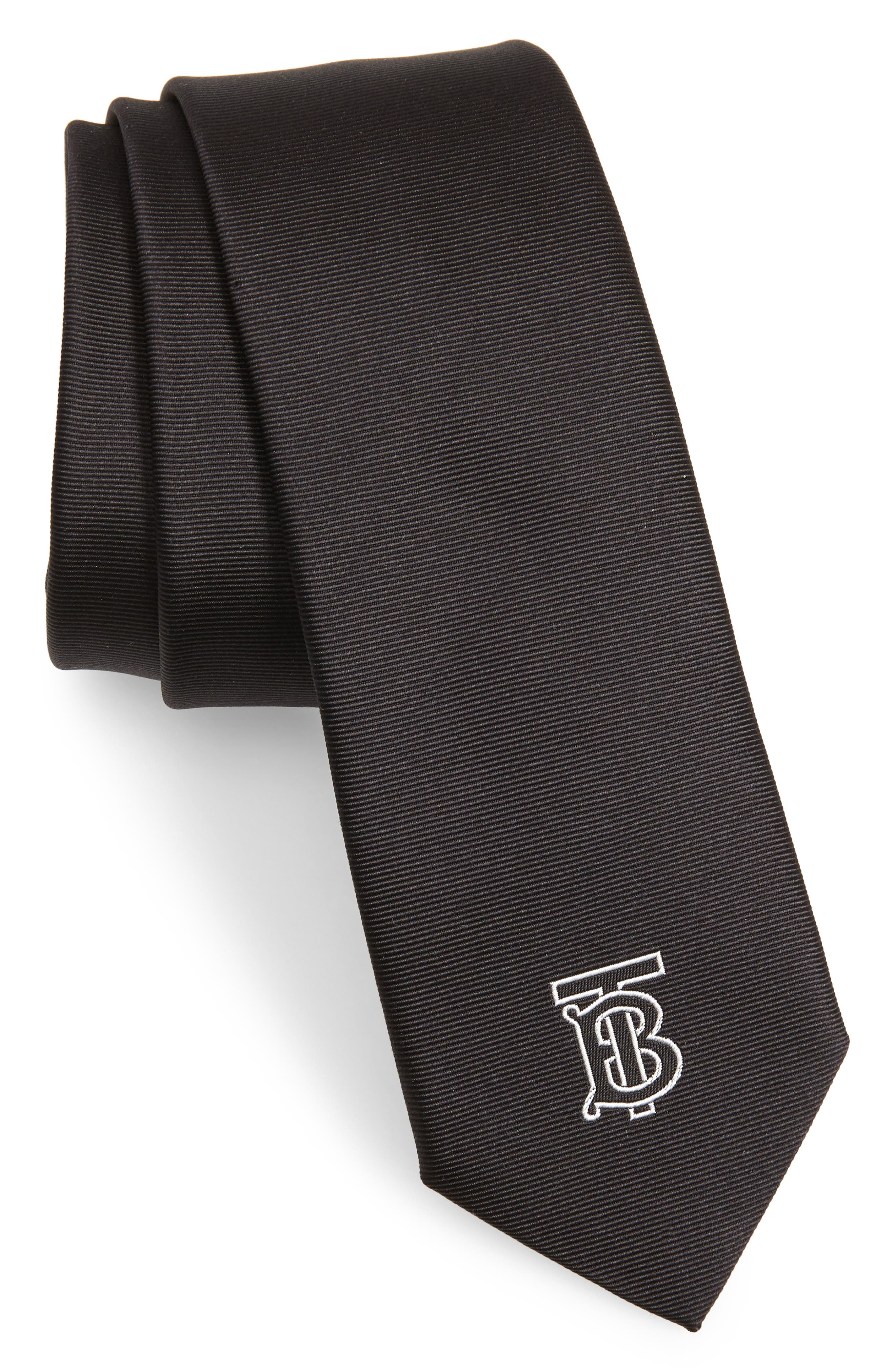 BURBERRY, Stanfield Silk Tie, Main thumbnail 1, color, BLACK