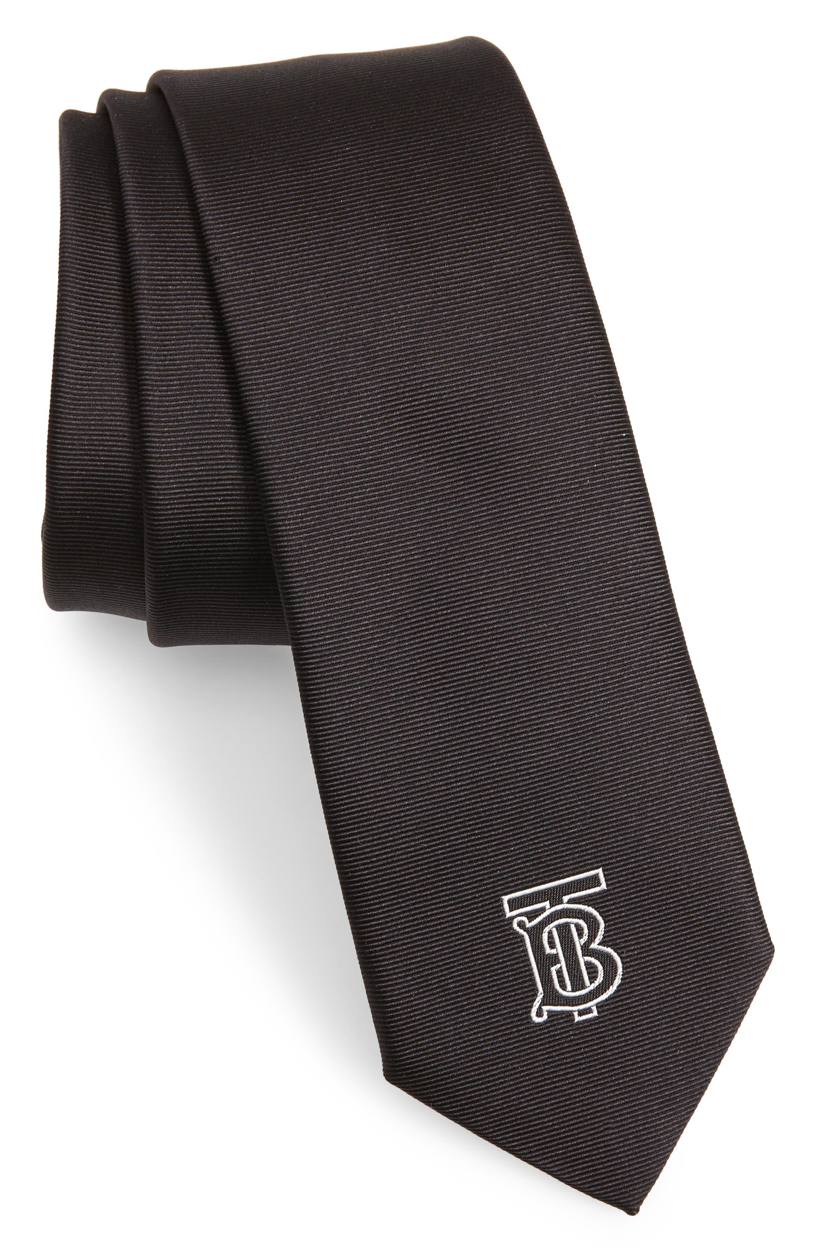 BURBERRY Stanfield Silk Tie, Main, color, BLACK