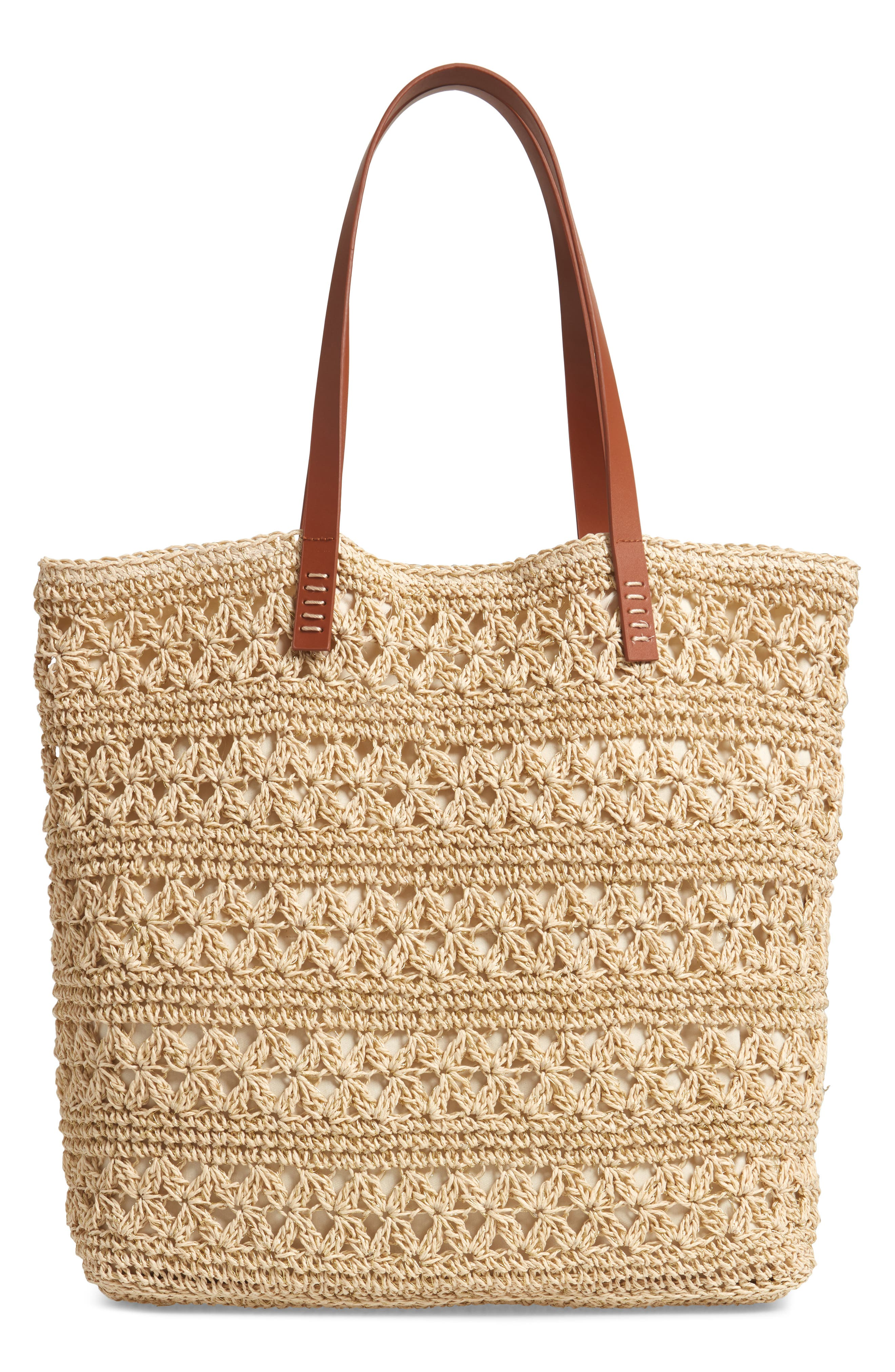 NORDSTROM, Packable Woven Raffia Tote, Alternate thumbnail 4, color, NATURAL