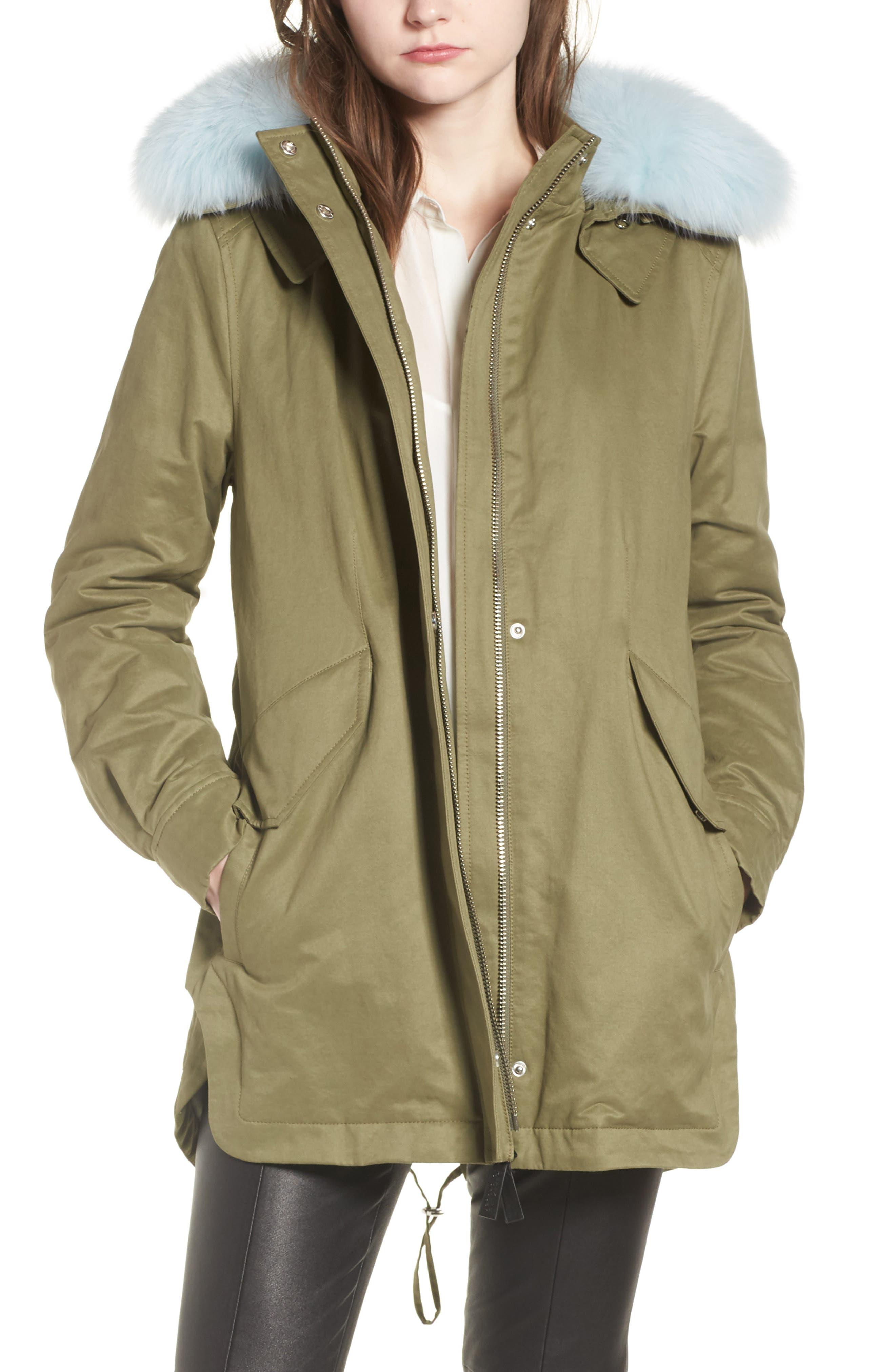 DEREK LAM 10 CROSBY, Genuine Fox Fur Trim Cotton Blend Parka, Main thumbnail 1, color, LODEN