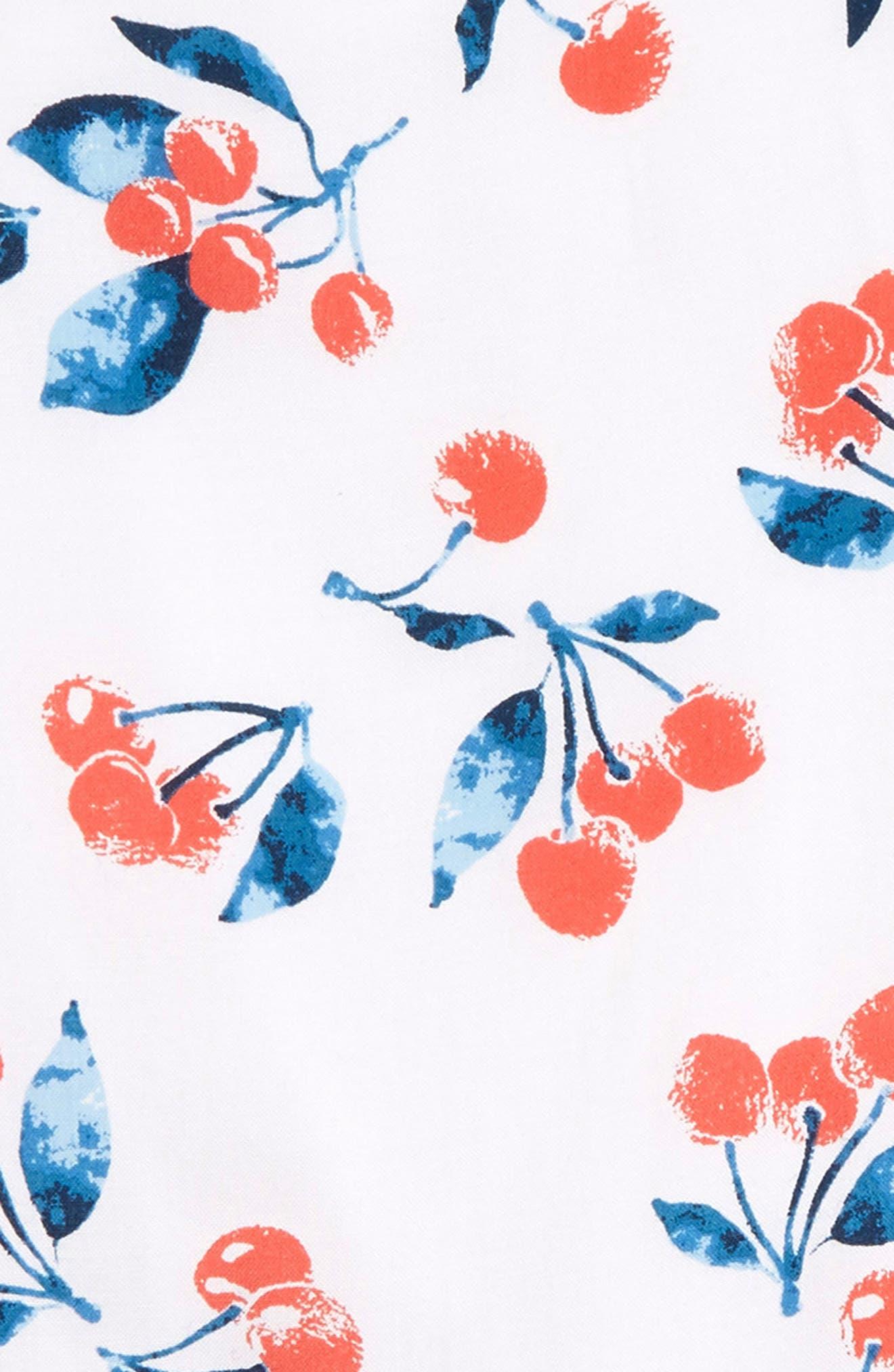 SPLENDID, Cherry Print Romper, Alternate thumbnail 3, color, WHITE VERANDA