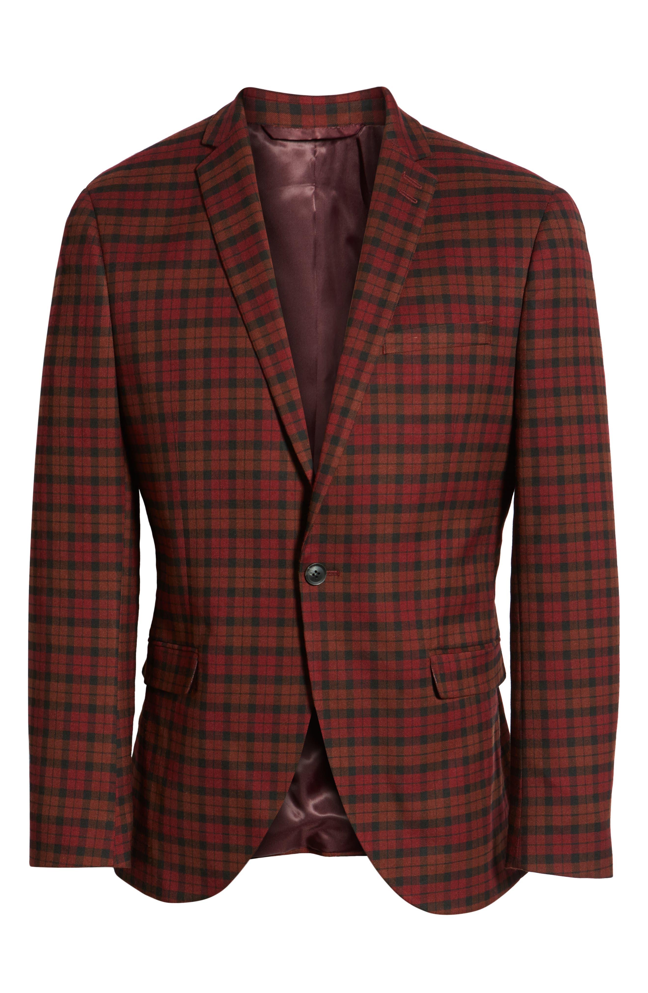 TOPMAN, Thorn Slim Fit Suit Jacket, Alternate thumbnail 6, color, 600