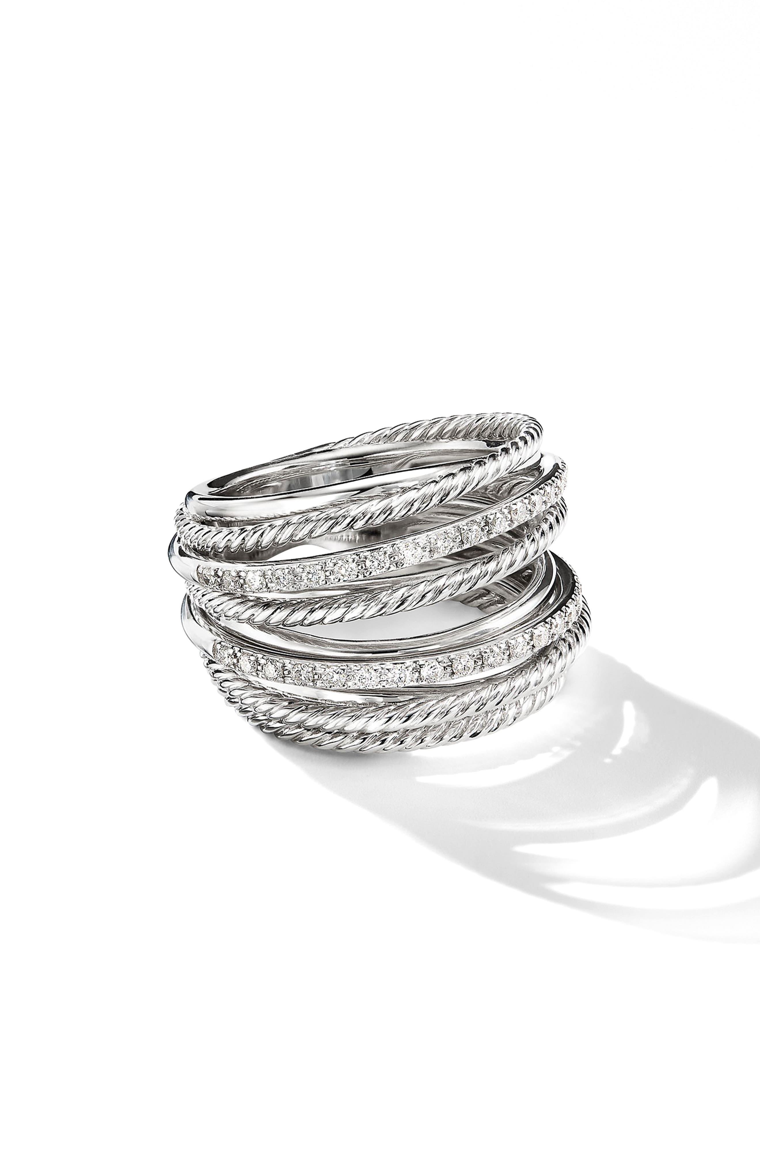 DAVID YURMAN, Wide Crossover Pavé Diamond Ring, Alternate thumbnail 2, color, SILVER/ DIAMOND