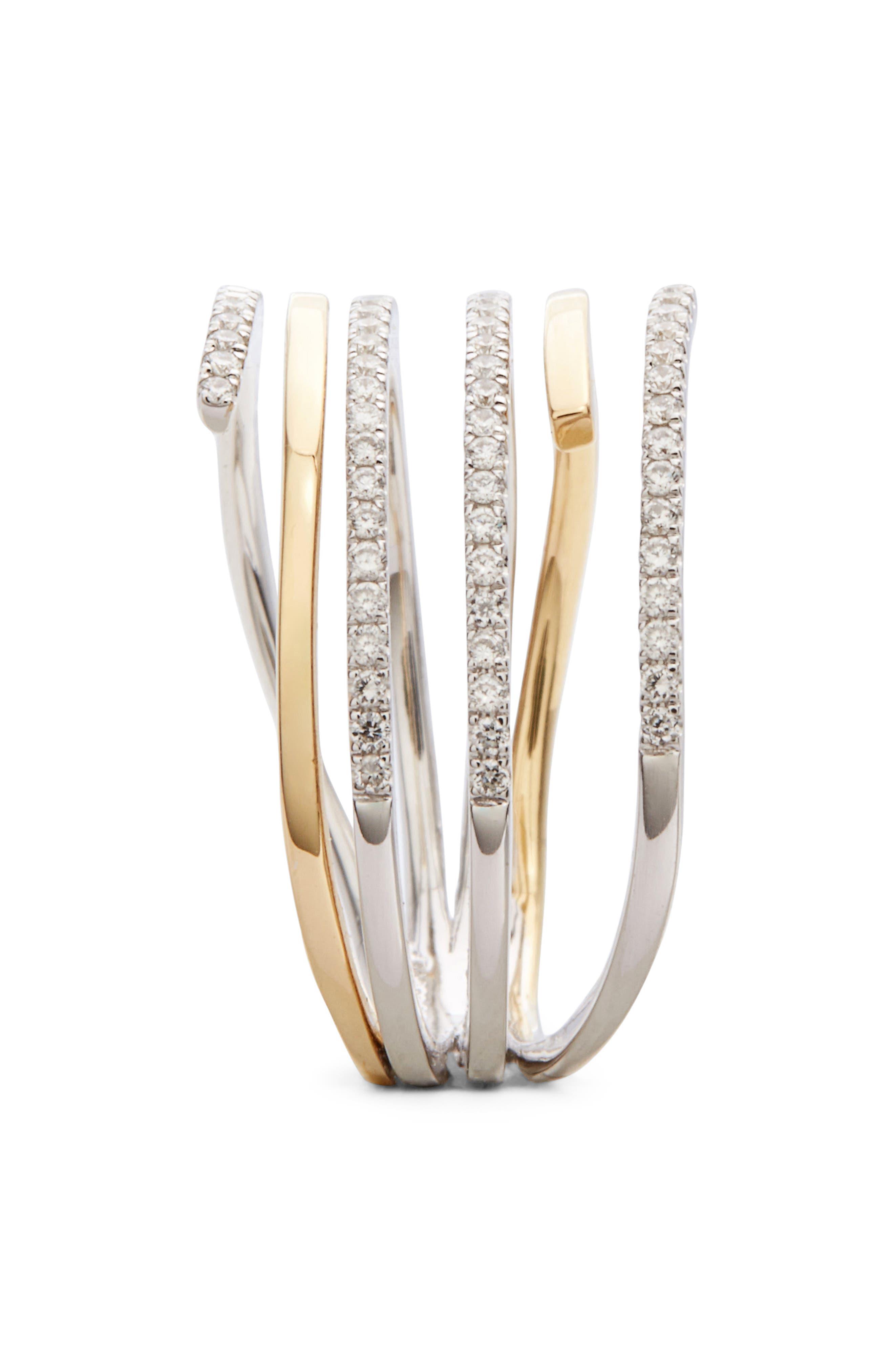 BONY LEVY, Openwork Diamond Ring, Alternate thumbnail 2, color, YELLOW GOLD/ WHITE GOLD