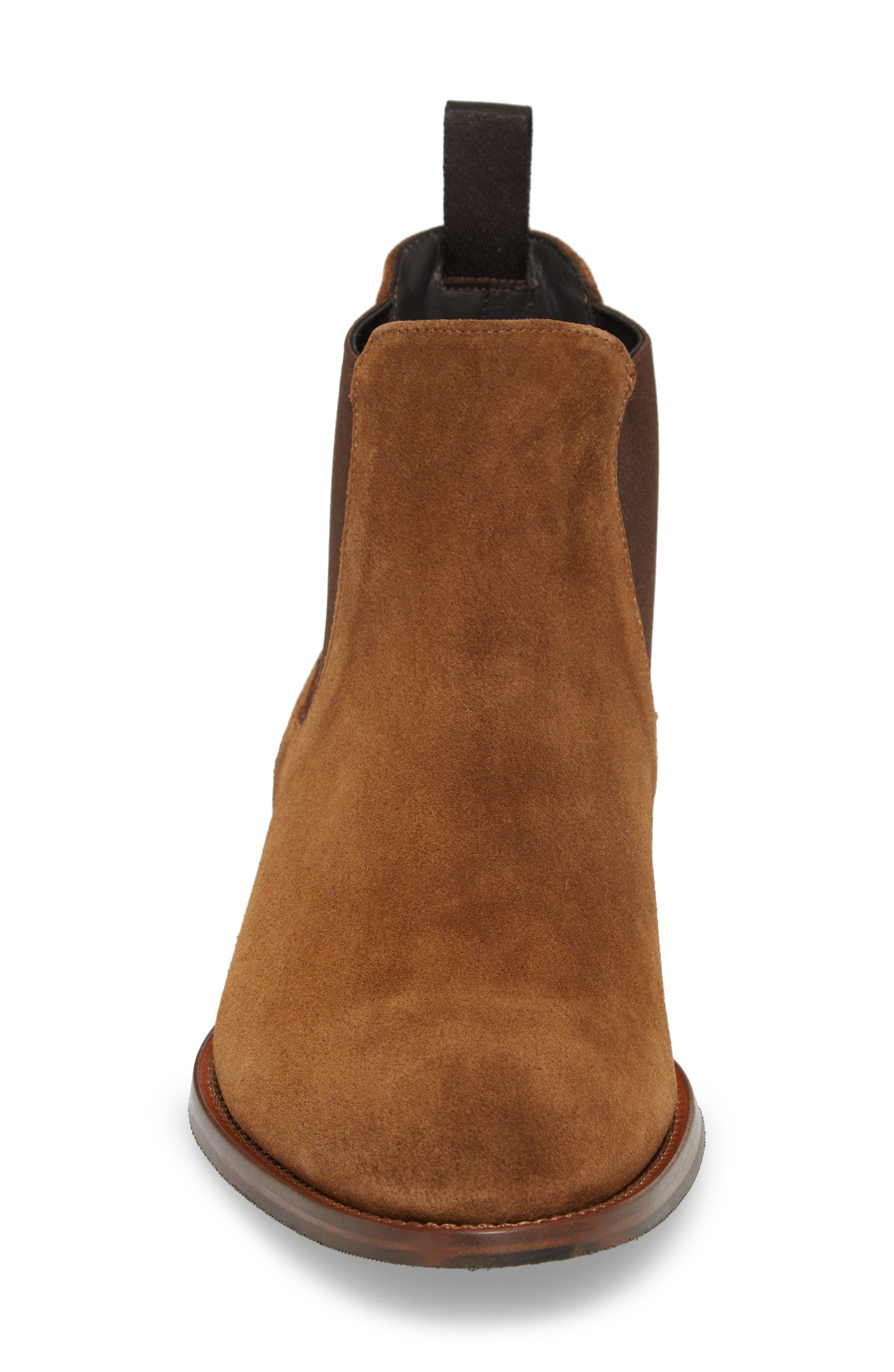 TO BOOT NEW YORK, Shelby Mid Chelsea Boot, Alternate thumbnail 4, color, MID BROWN SUEDE