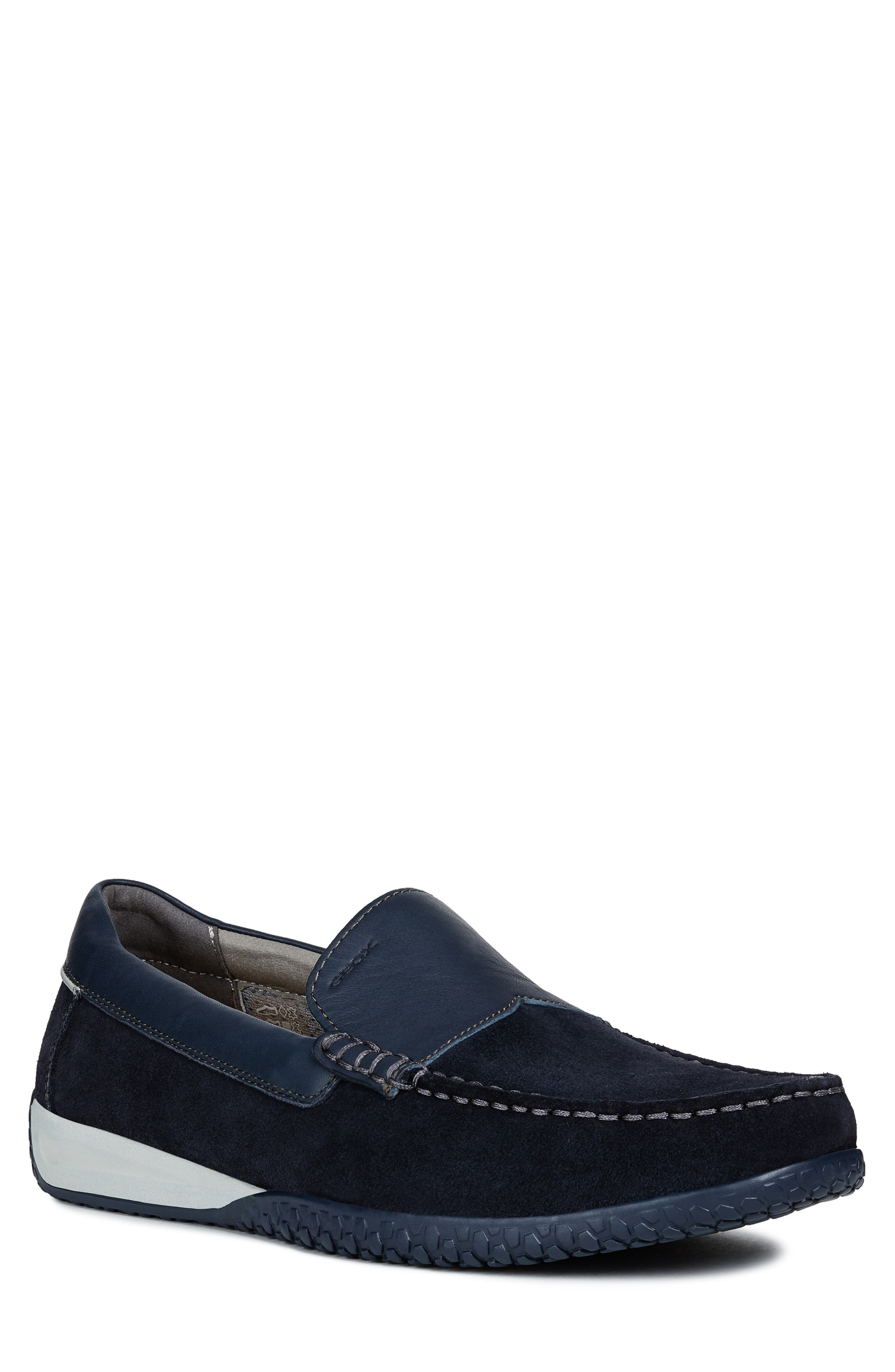 GEOX, Delrick 2 Slip-On, Main thumbnail 1, color, NAVY SUEDE/ LEATHER