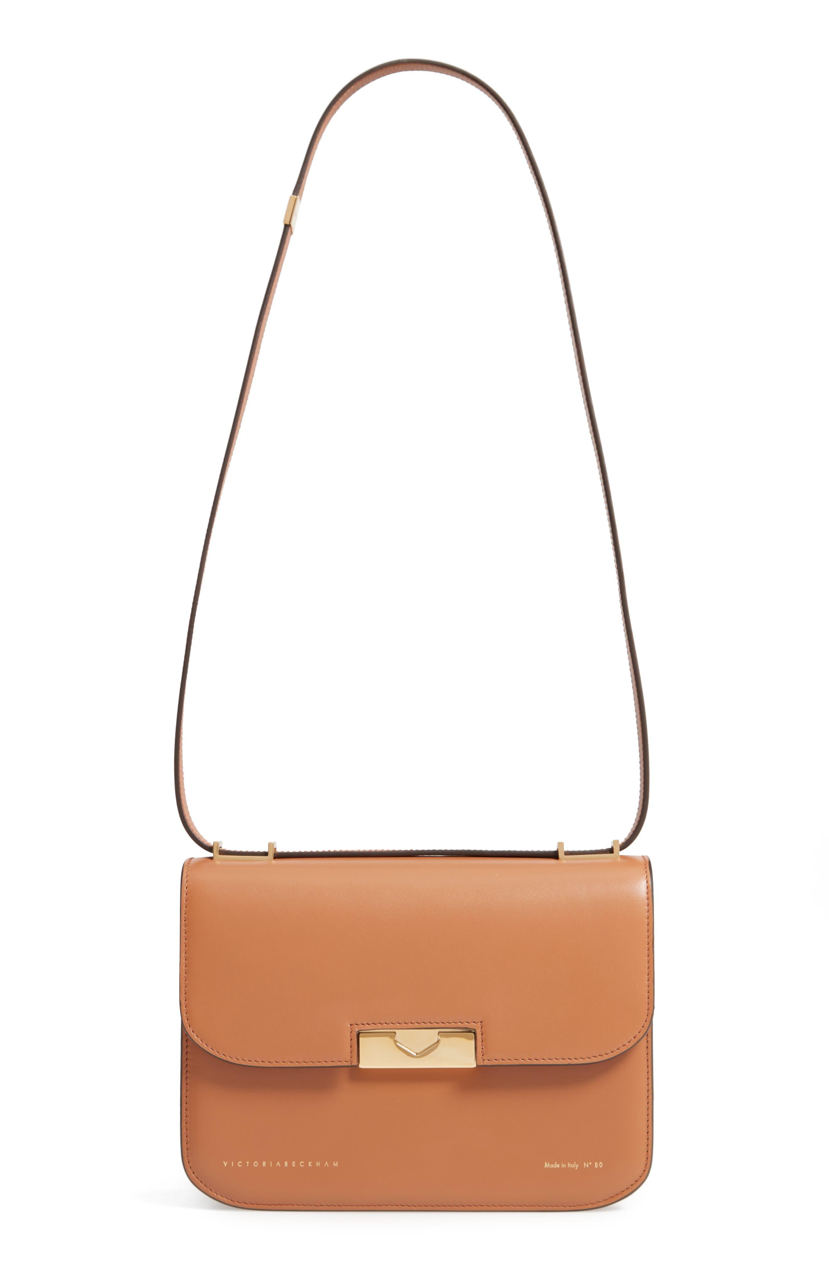 VICTORIA BECKHAM, Eva Calfskin Leather Shoulder Bag, Main thumbnail 1, color, CAMEL