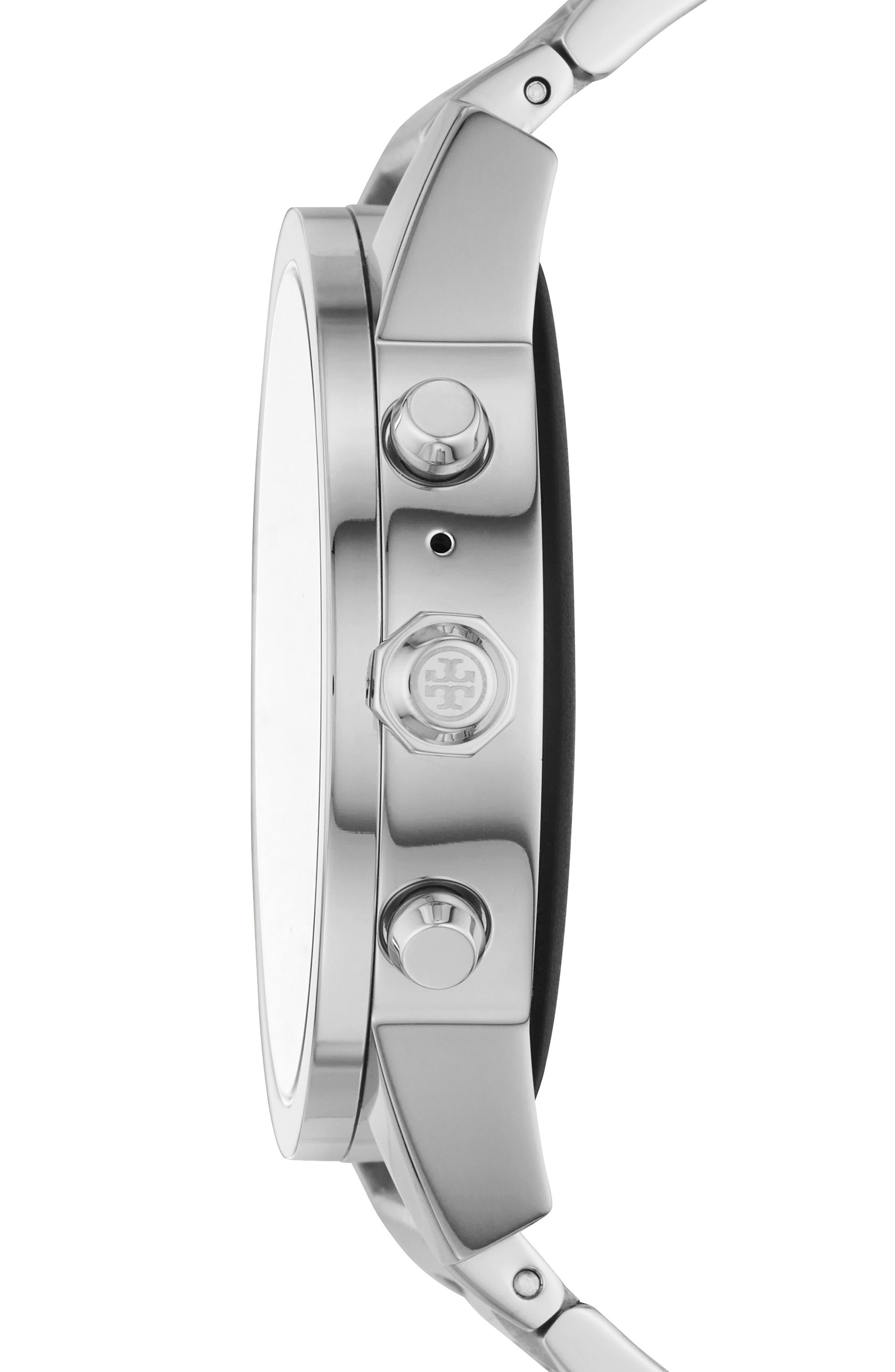 TORY BURCH, ToryTrack Gigi Touchscreen Smart Watch, 40mm, Alternate thumbnail 3, color, SILVER