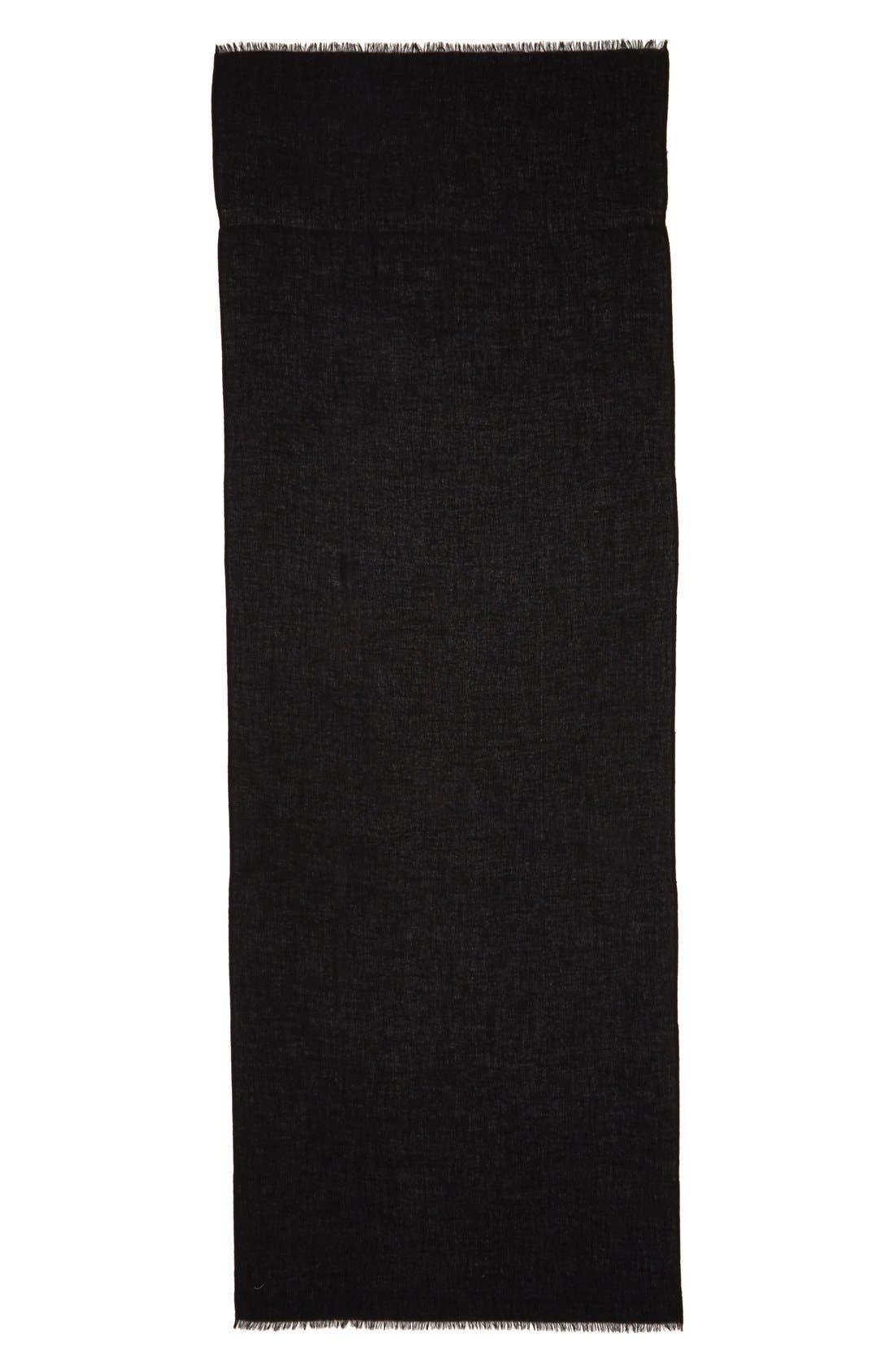 NORDSTROM, Wool & Cashmere Wrap, Alternate thumbnail 2, color, 001