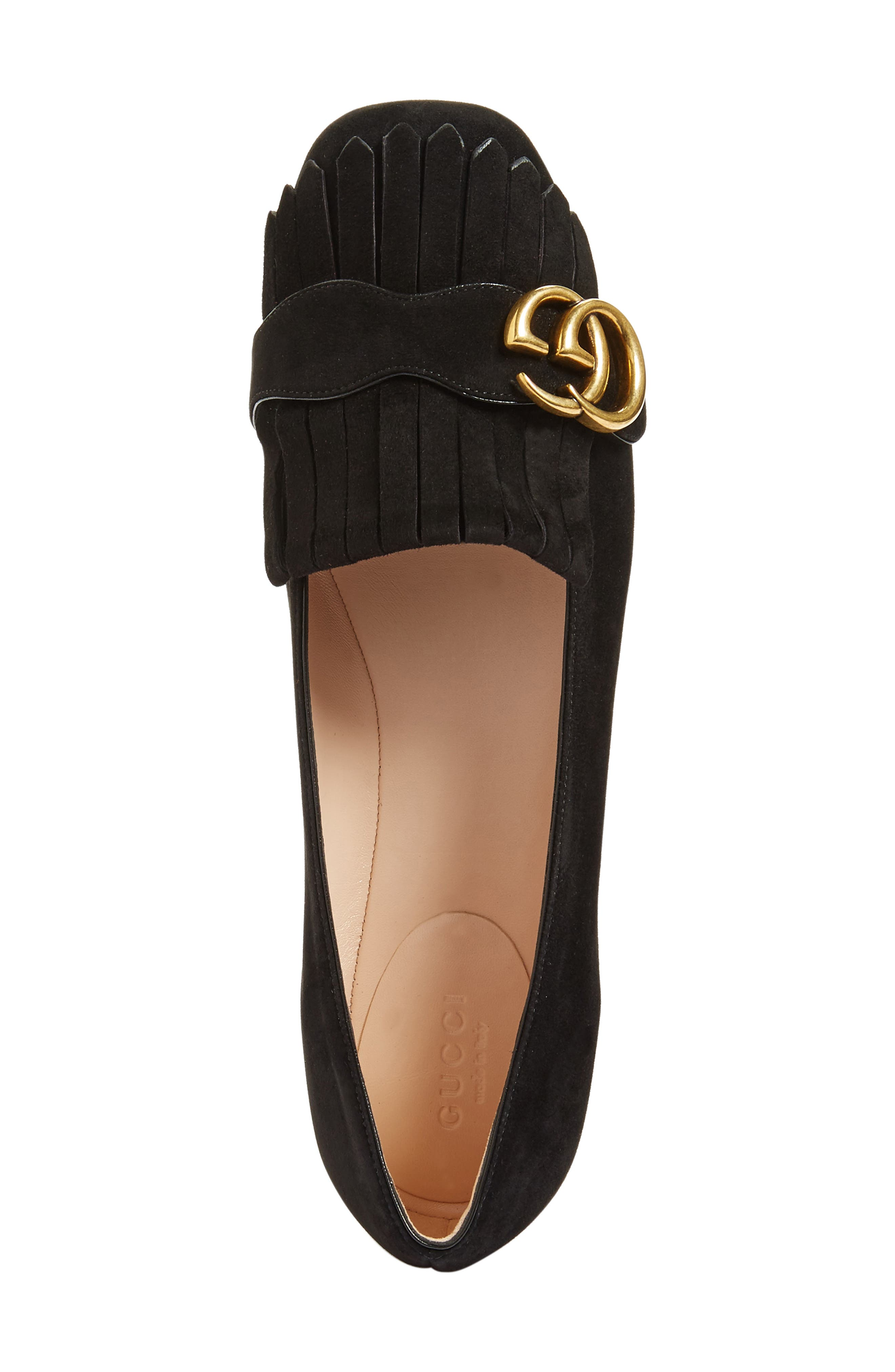 GUCCI, GG Marmont Fringe Flat, Alternate thumbnail 4, color, BLACK SUEDE