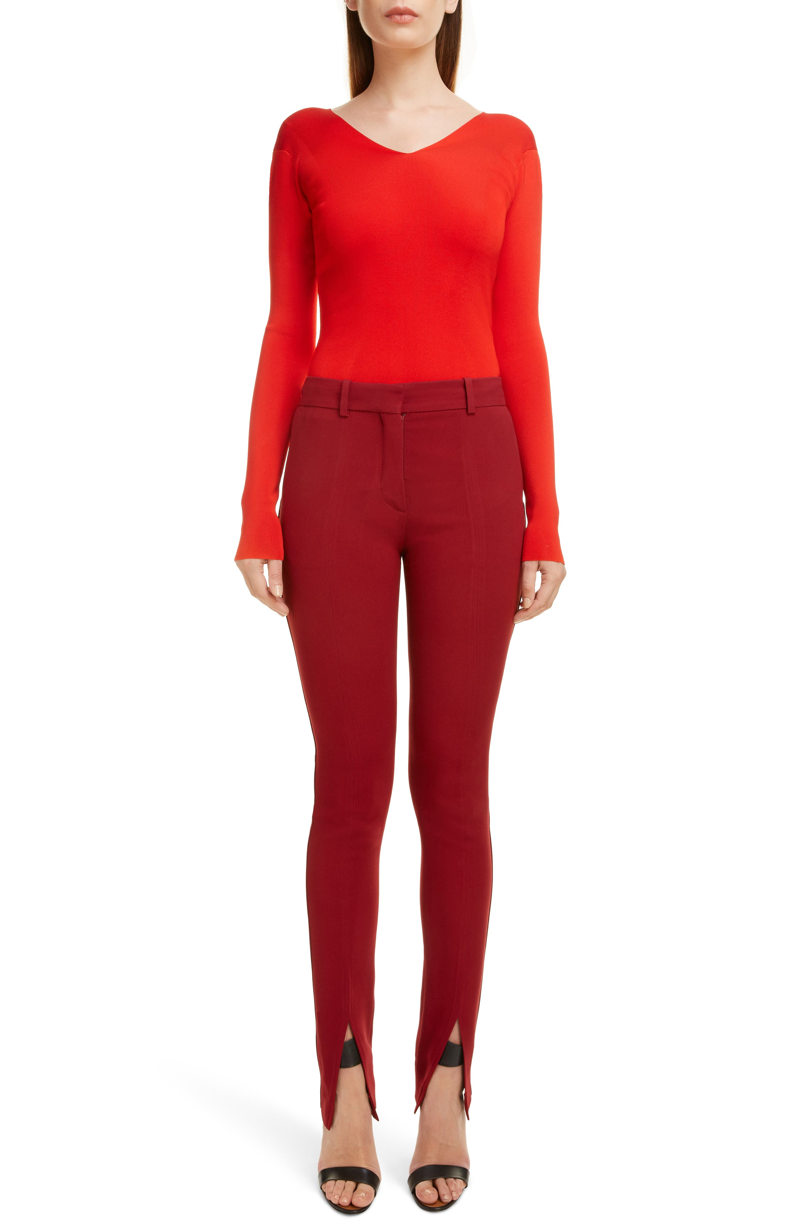 VICTORIA BECKHAM, Front Split Skinny Pants, Alternate thumbnail 6, color, BURGUNDY