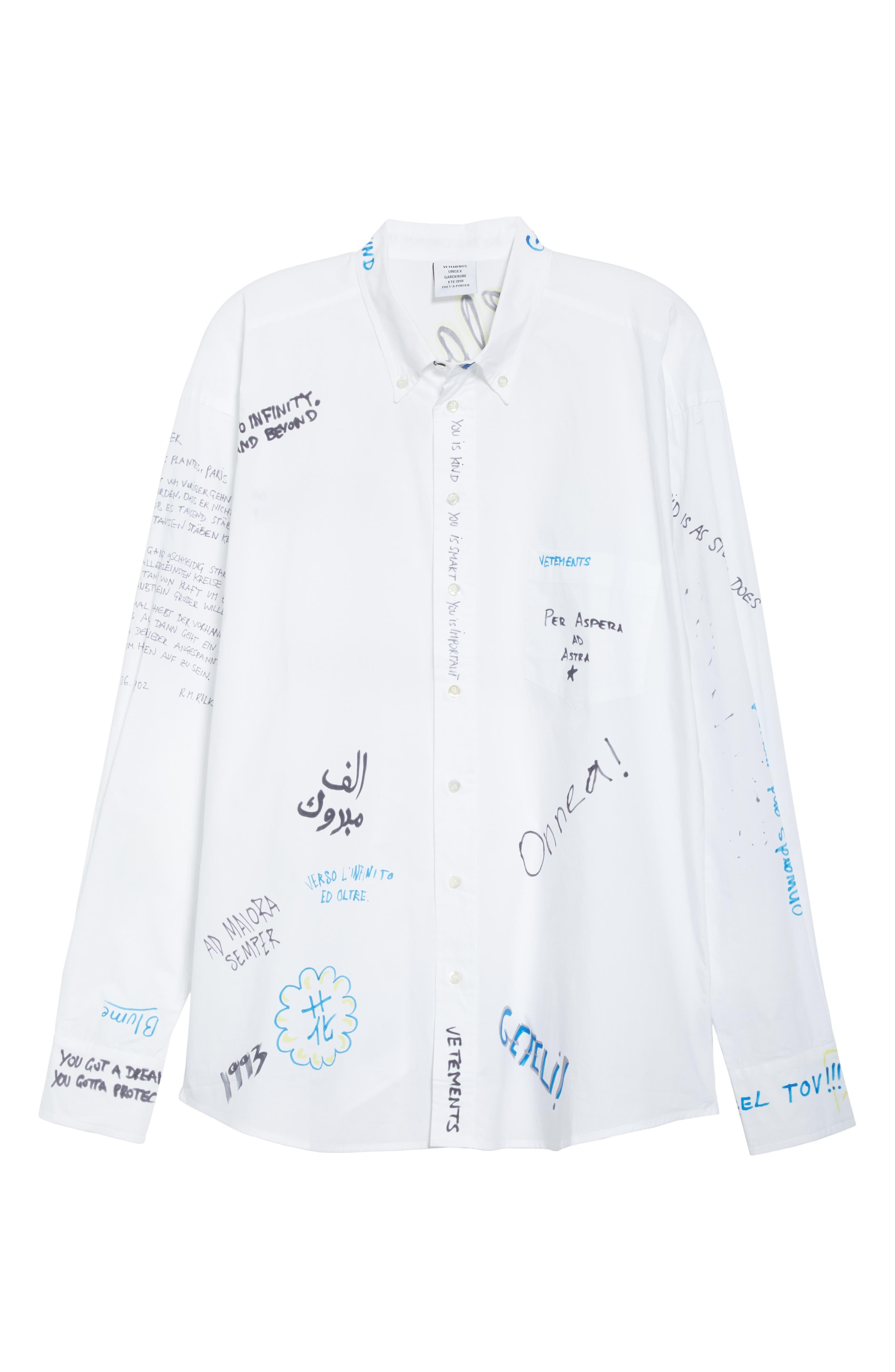 VETEMENTS, Scribble Print Oversize Shirt, Alternate thumbnail 6, color, WHITE