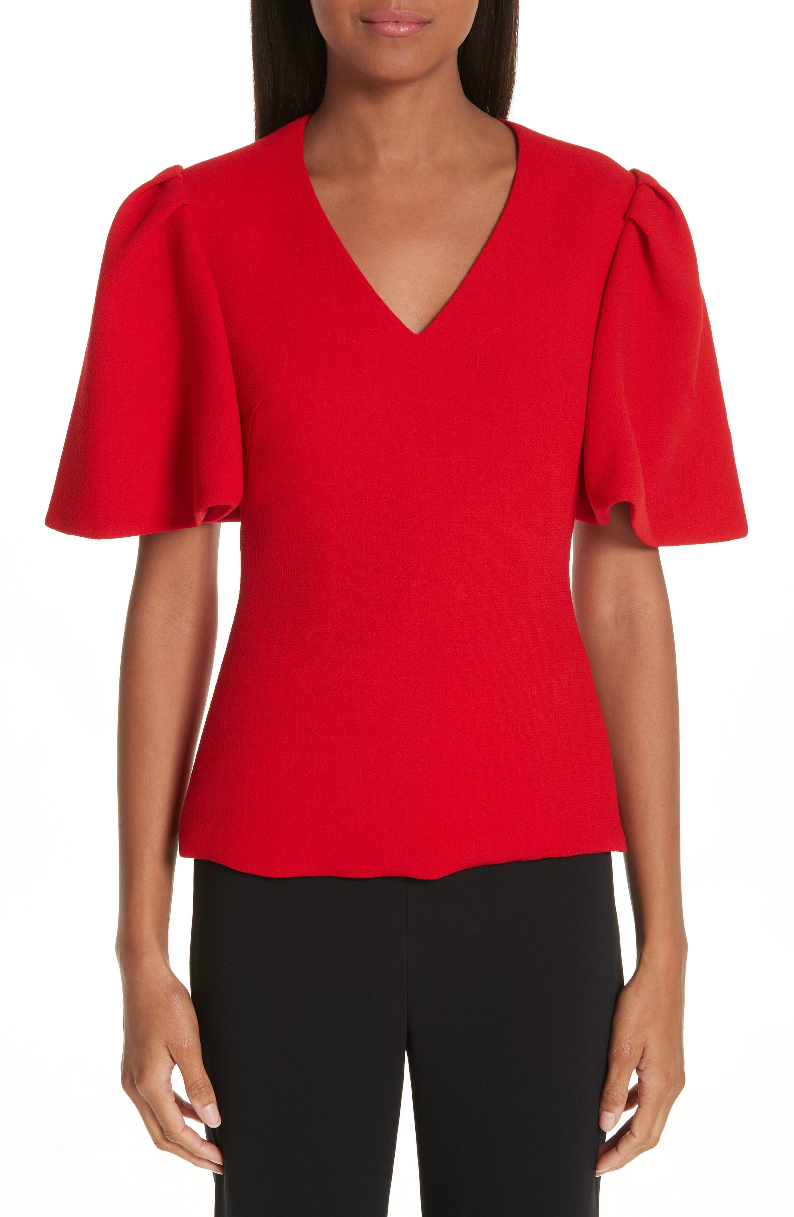 BRANDON MAXWELL, Flutter Sleeve Top, Main thumbnail 1, color, RED