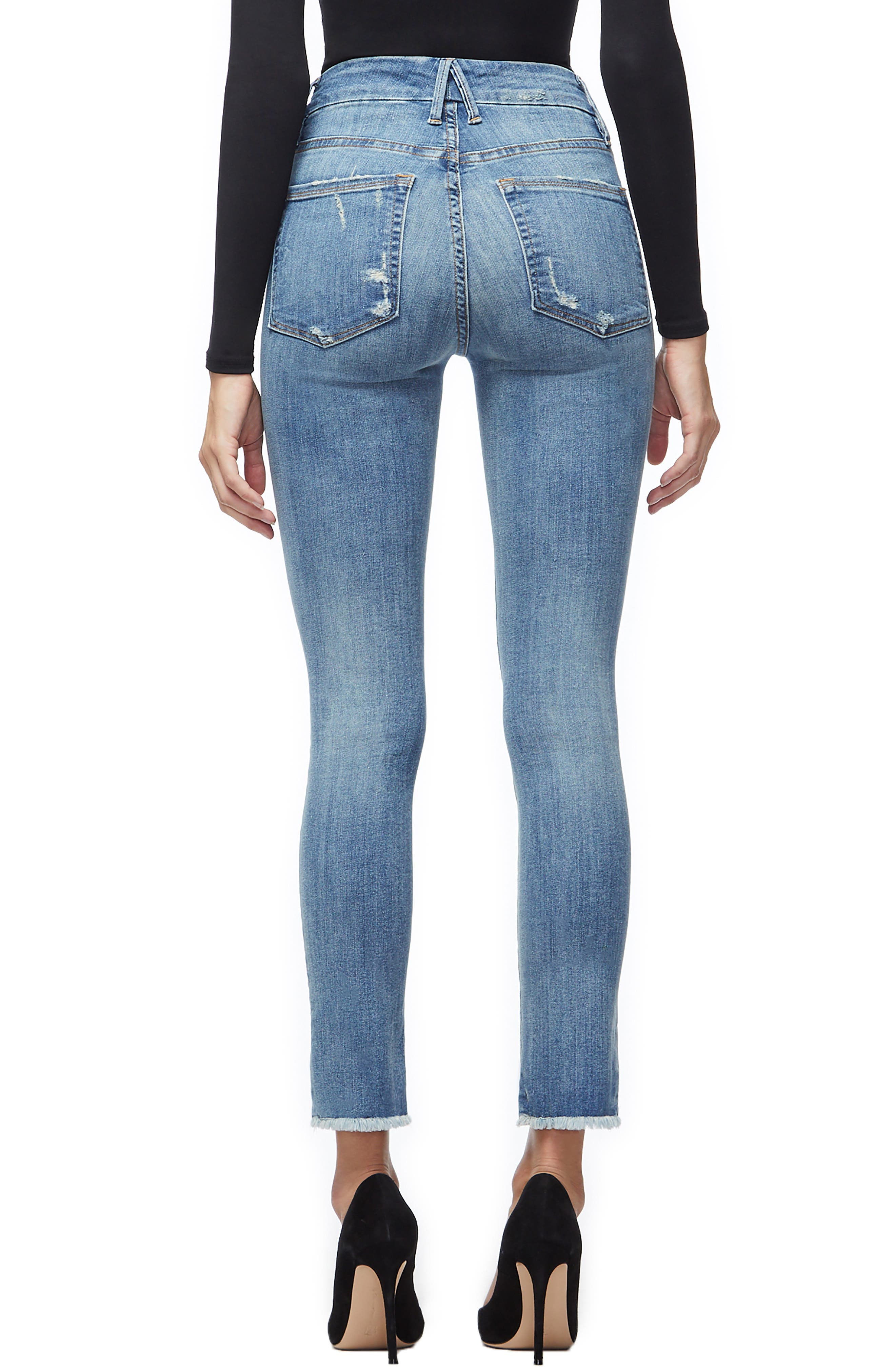 GOOD AMERICAN, Good Legs Ripped Skinny Jeans, Alternate thumbnail 4, color, BLUE 218