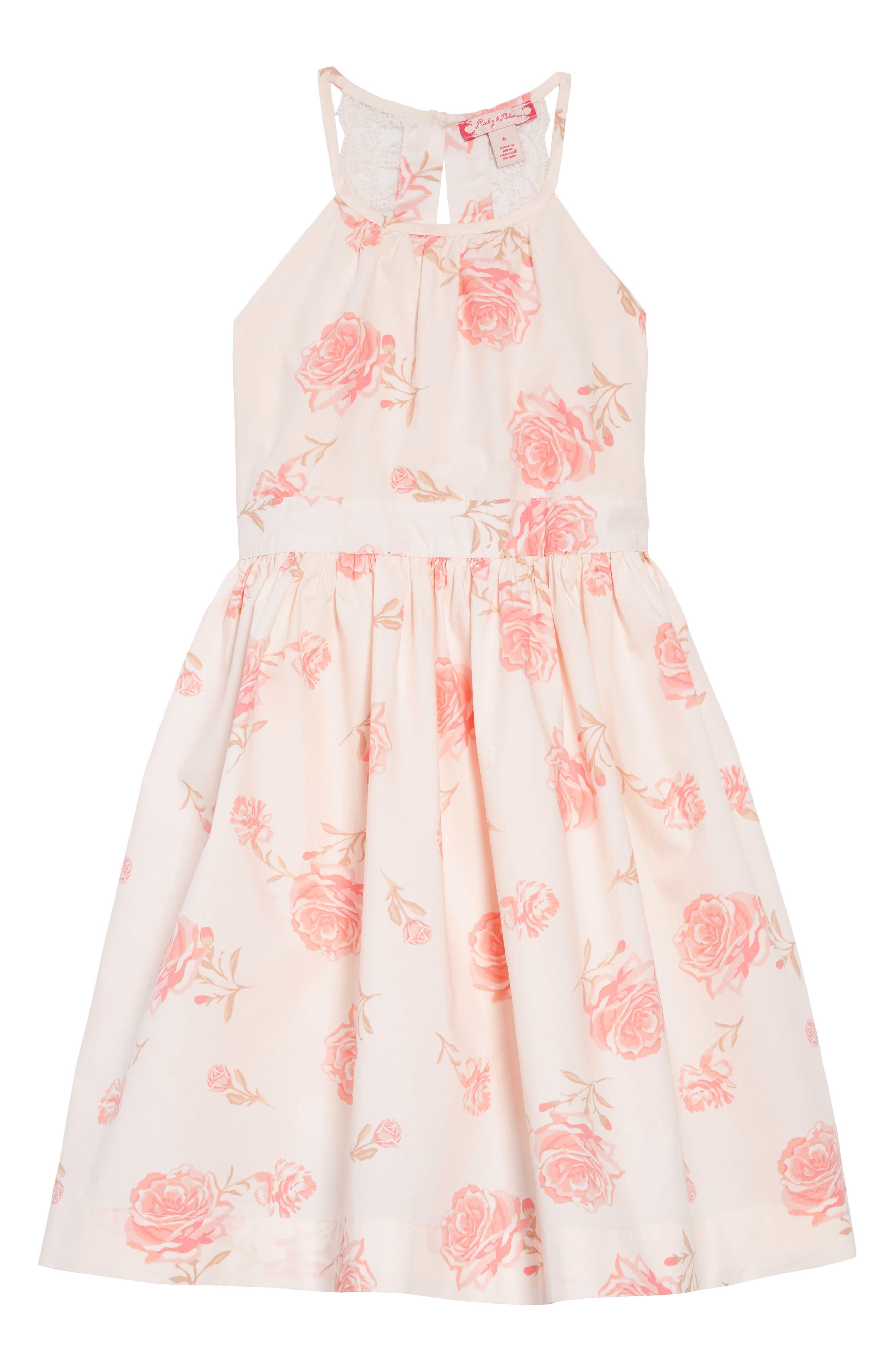 RUBY & BLOOM Lovely Lace Dress, Main, color, IVORY EGRET ELEGANT FLORAL