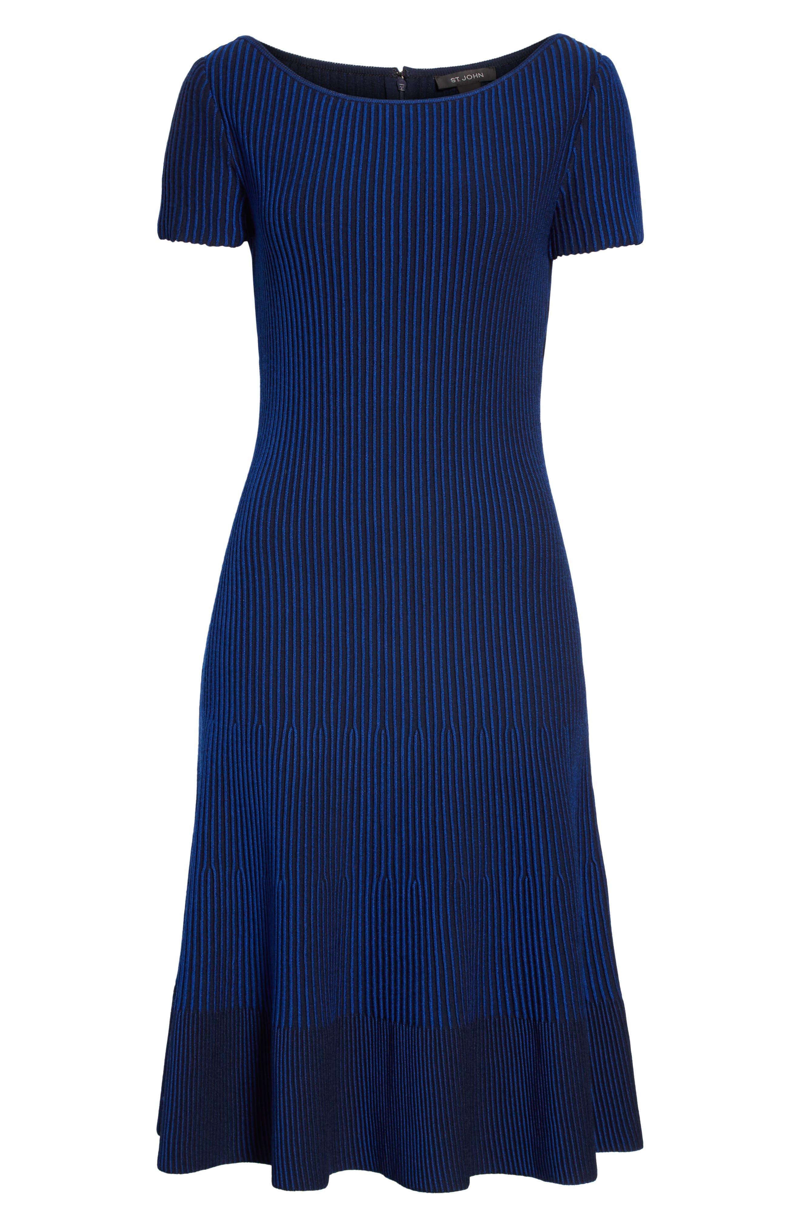 ST. JOHN COLLECTION, Ottoman Fit & Flare Sweater Dress, Alternate thumbnail 7, color, AZUL/ NAVY MULTI