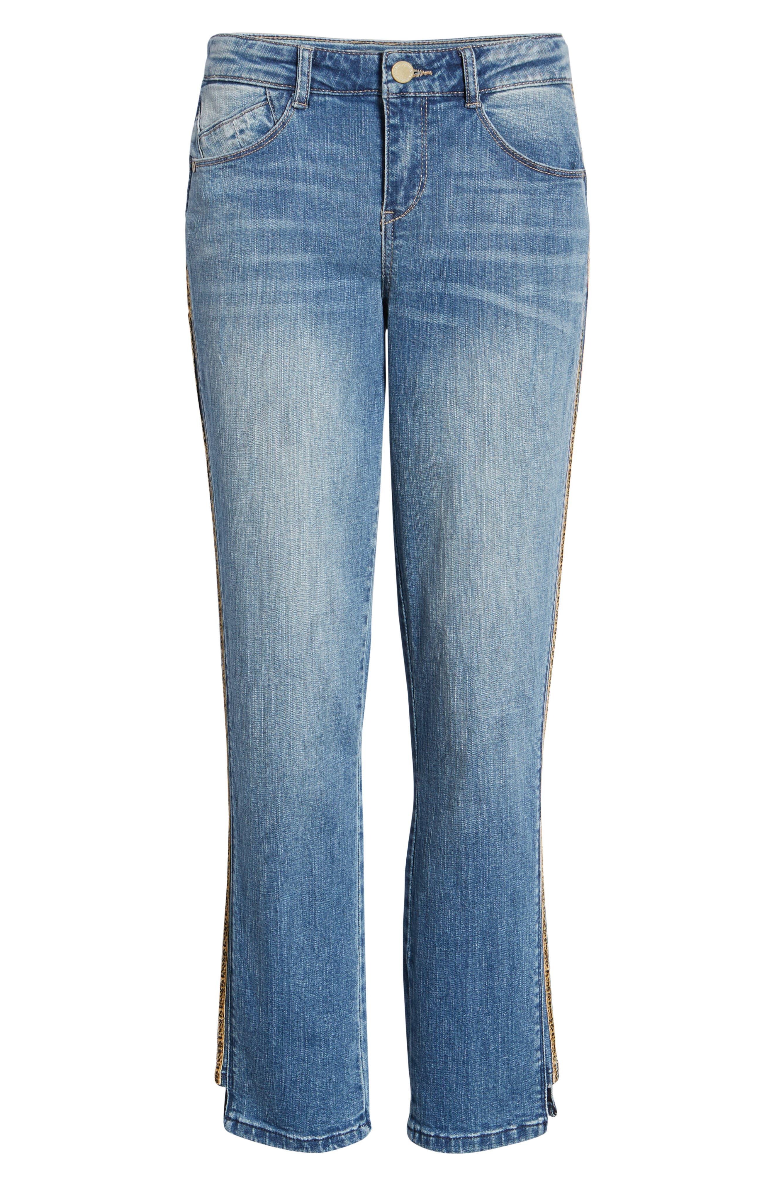 WIT & WISDOM, Flex-ellent Leopard Stripe Slim Straight Leg Jeans, Alternate thumbnail 7, color, 420