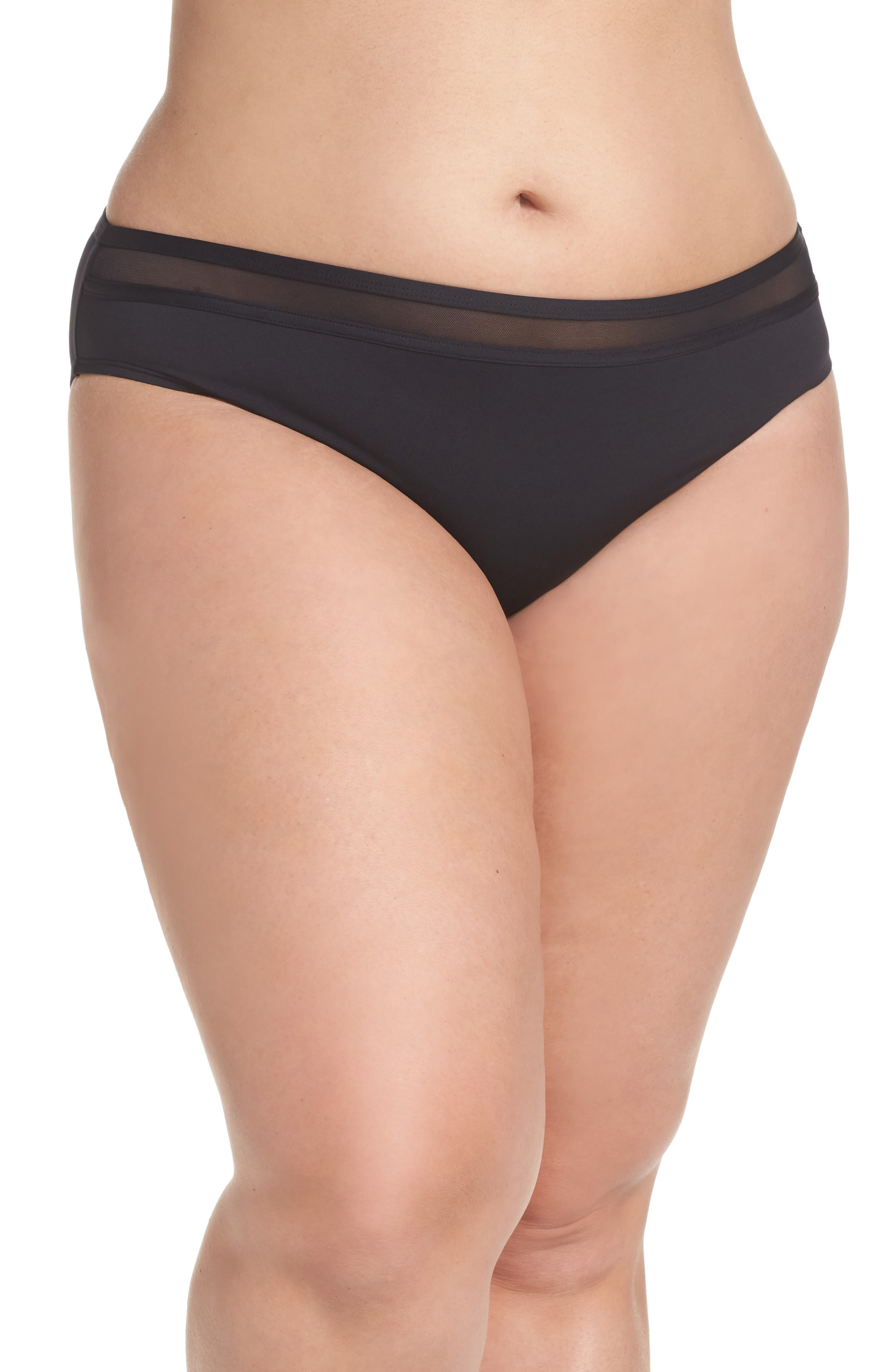 TOMMY BAHAMA Mesh Bikini Bottoms, Main, color, BLACK