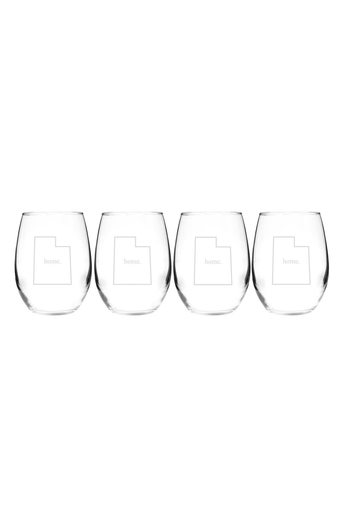 CATHY'S CONCEPTS, Home State Set of 4 Stemless Wine Glasses, Main thumbnail 1, color, 143