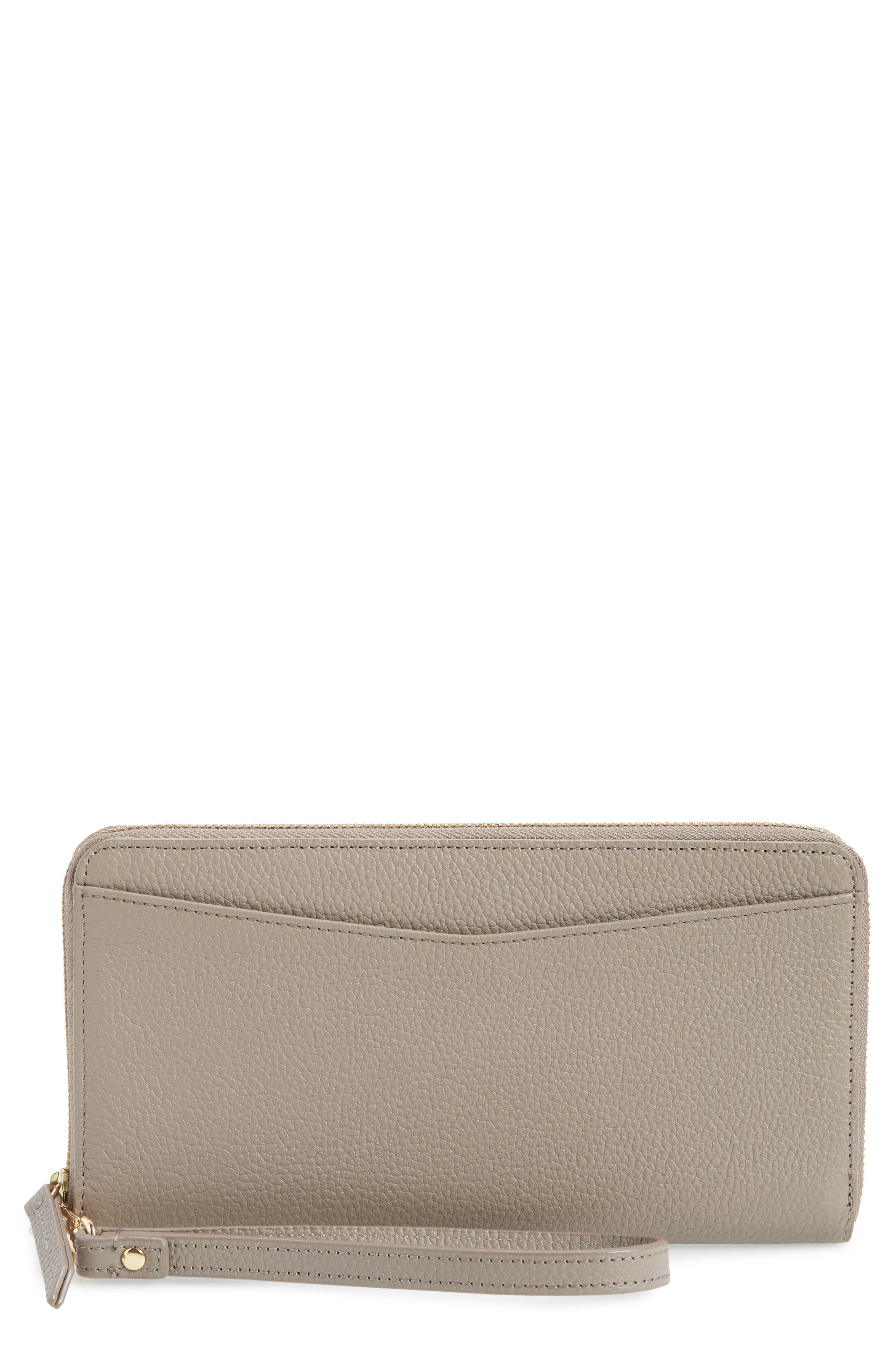 NORDSTROM, Zip Around Leather Continental Wallet, Main thumbnail 1, color, GREY TAUPE