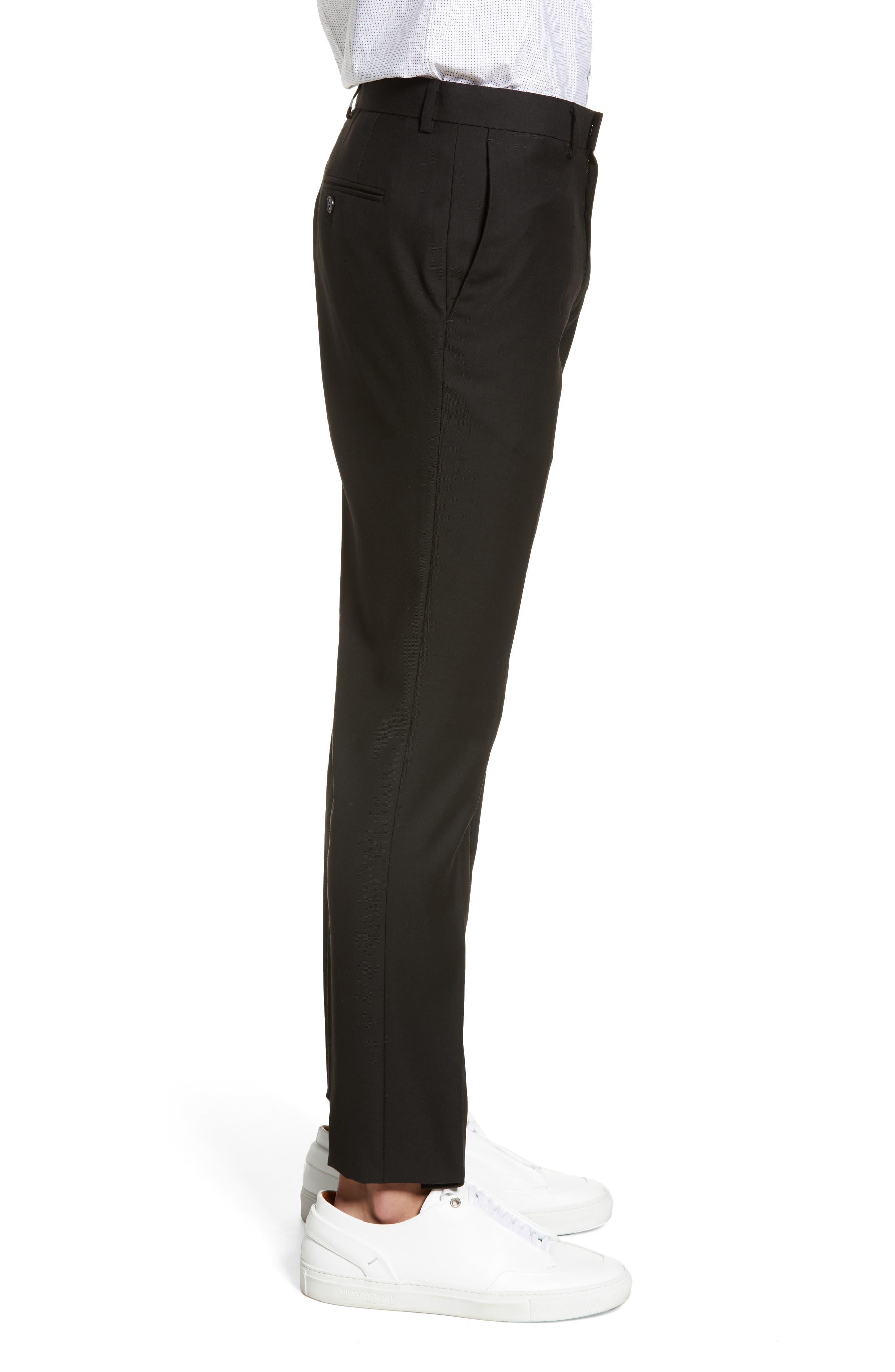 TOPMAN, Black Skinny Fit Trousers, Alternate thumbnail 4, color, BLACK