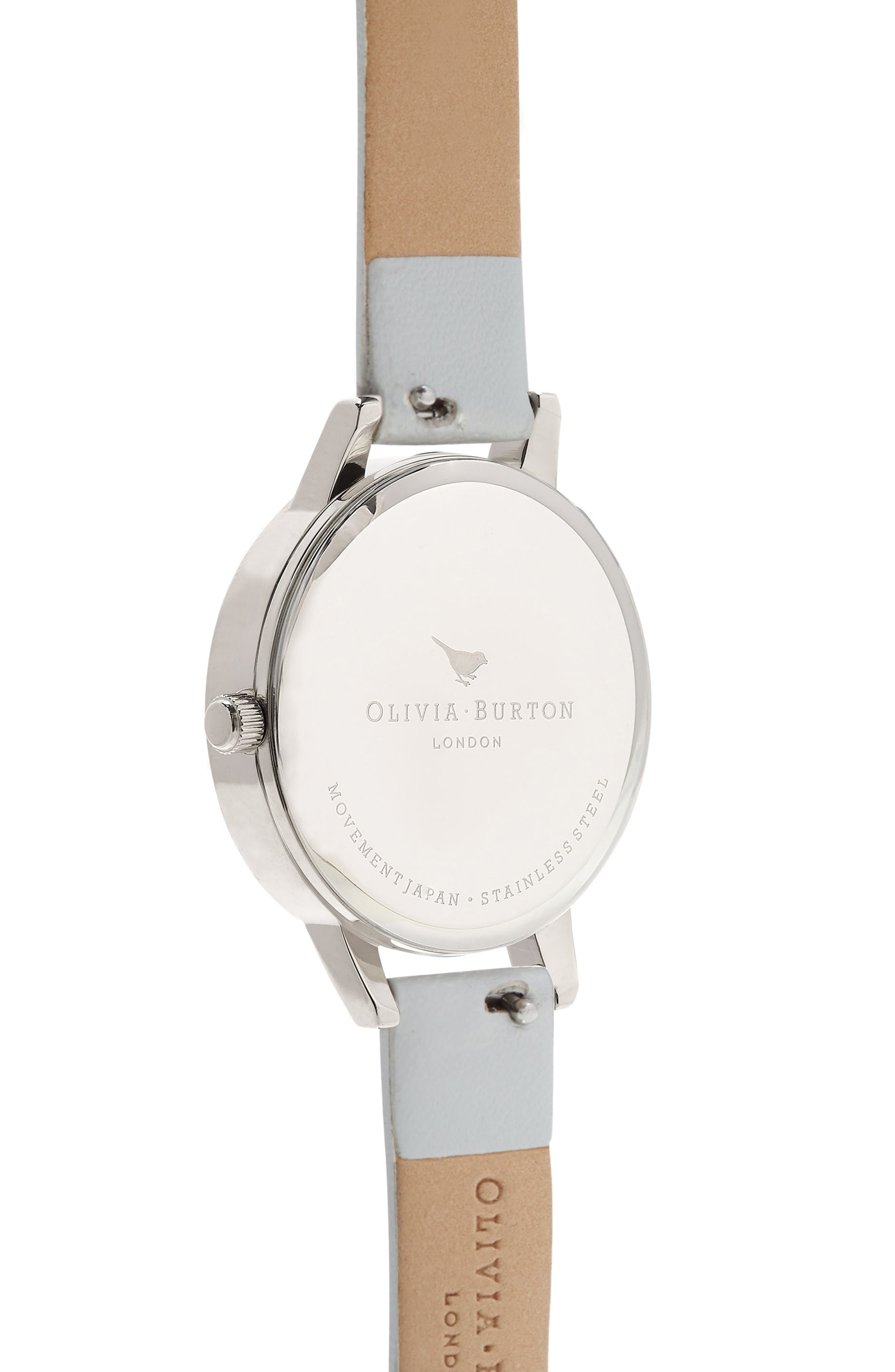OLIVIA BURTON, Lace Leather Strap Watch, 30mm, Alternate thumbnail 2, color, GREY/ MOP/ SILVER