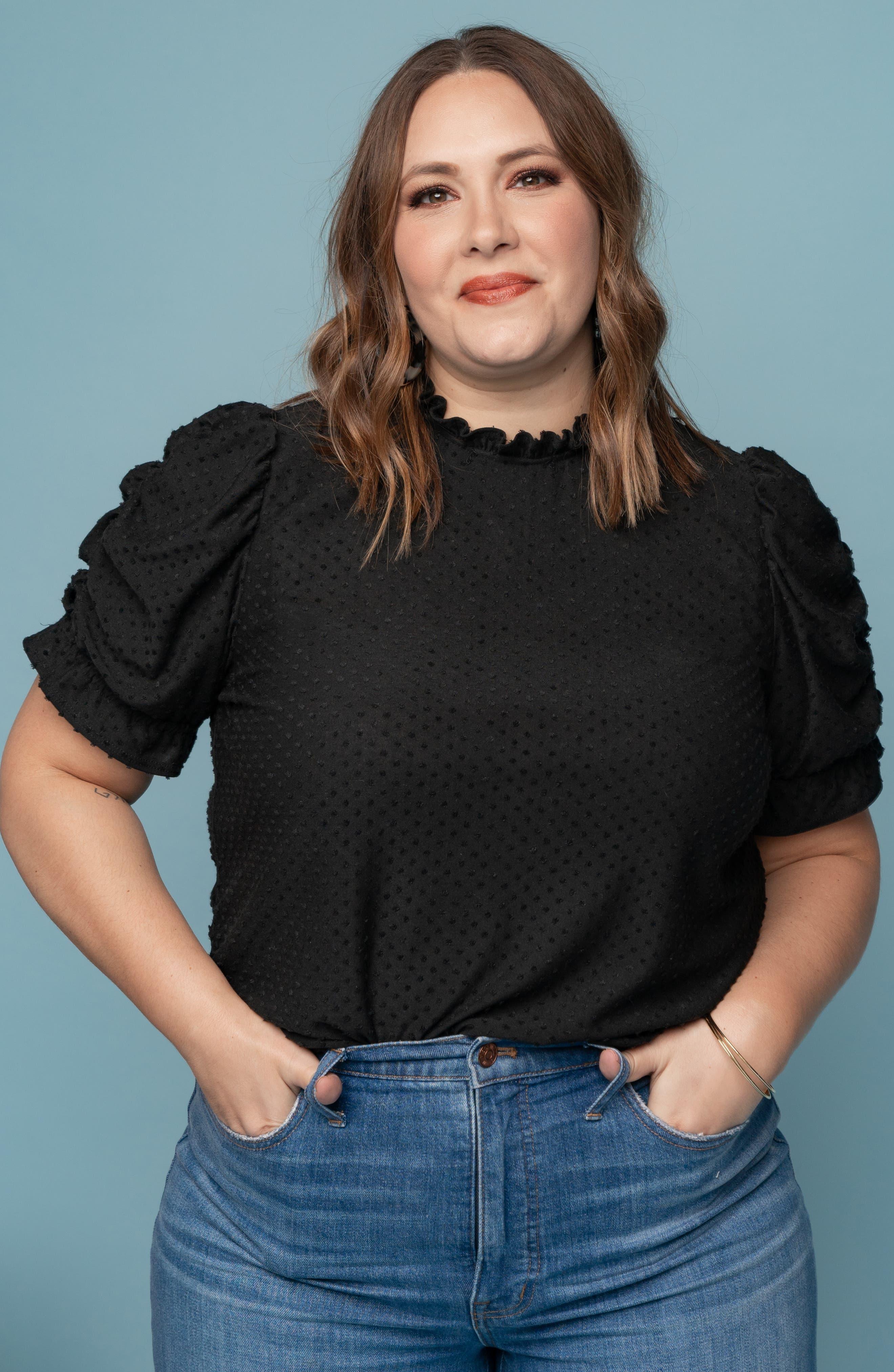 GIBSON, x International Women's Day Rebecca Clip Dot Ruffle Sleeve Blouse, Alternate thumbnail 7, color, CHARCOAL