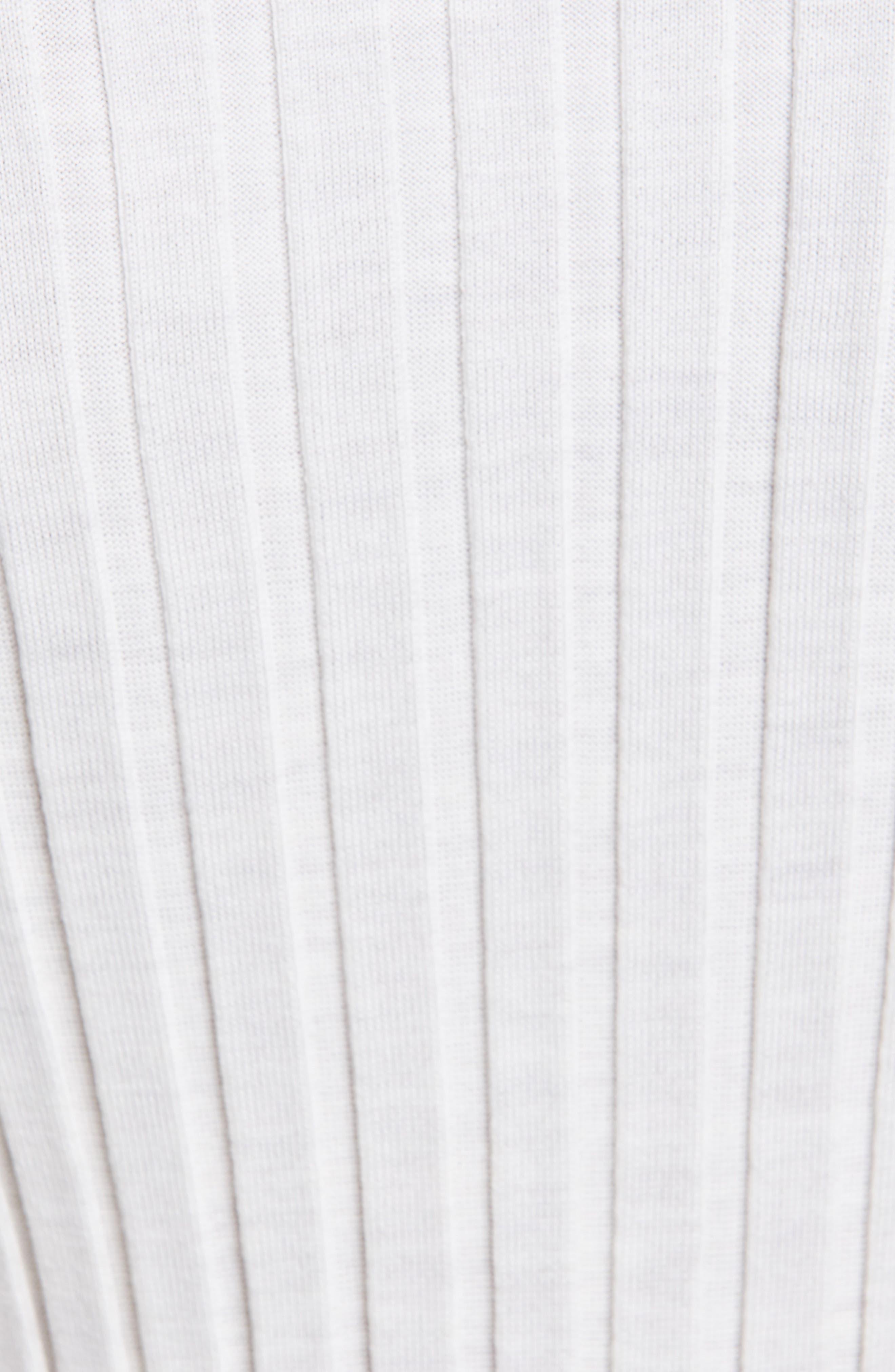 HELMUT LANG, Slash Neck Ribbed Wool Sweater, Alternate thumbnail 5, color, IVORY MELANGE