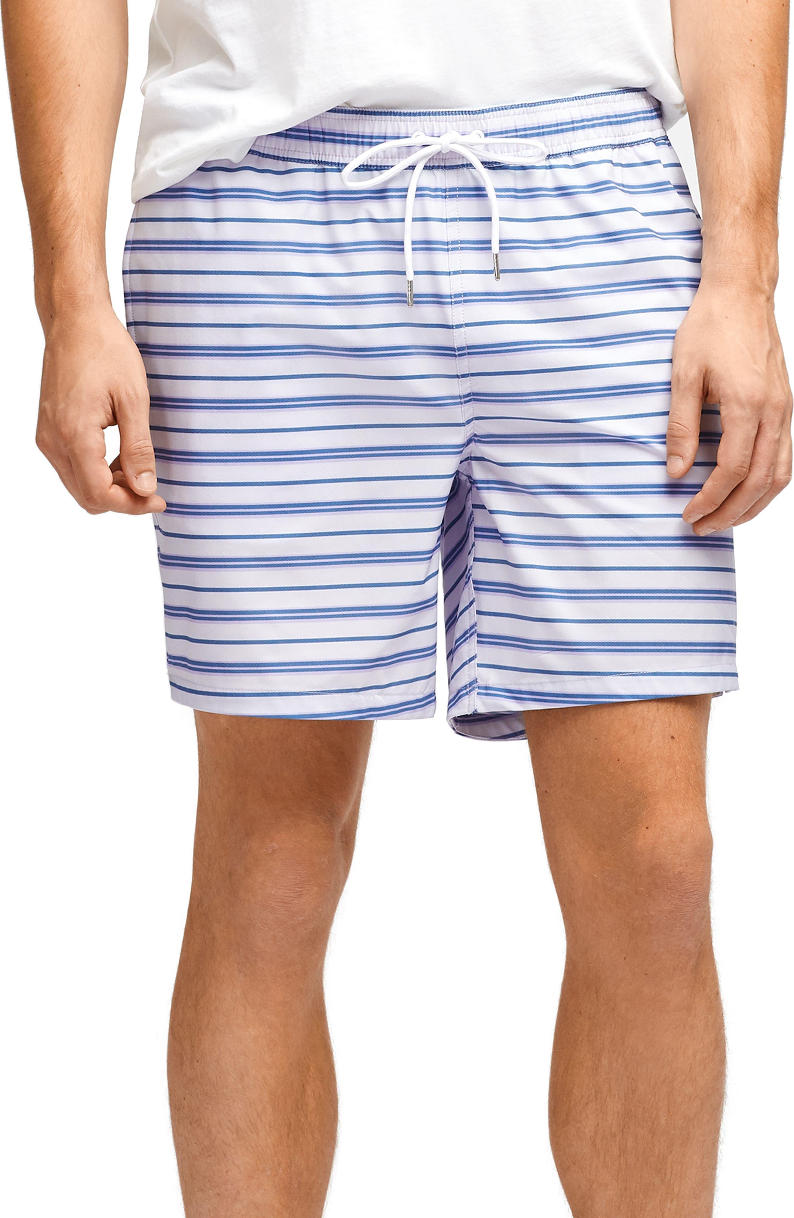 BONOBOS, Banzai 7-Inch Stripe E-Waist Swim Trunks, Main thumbnail 1, color, PURPLE STRIPE