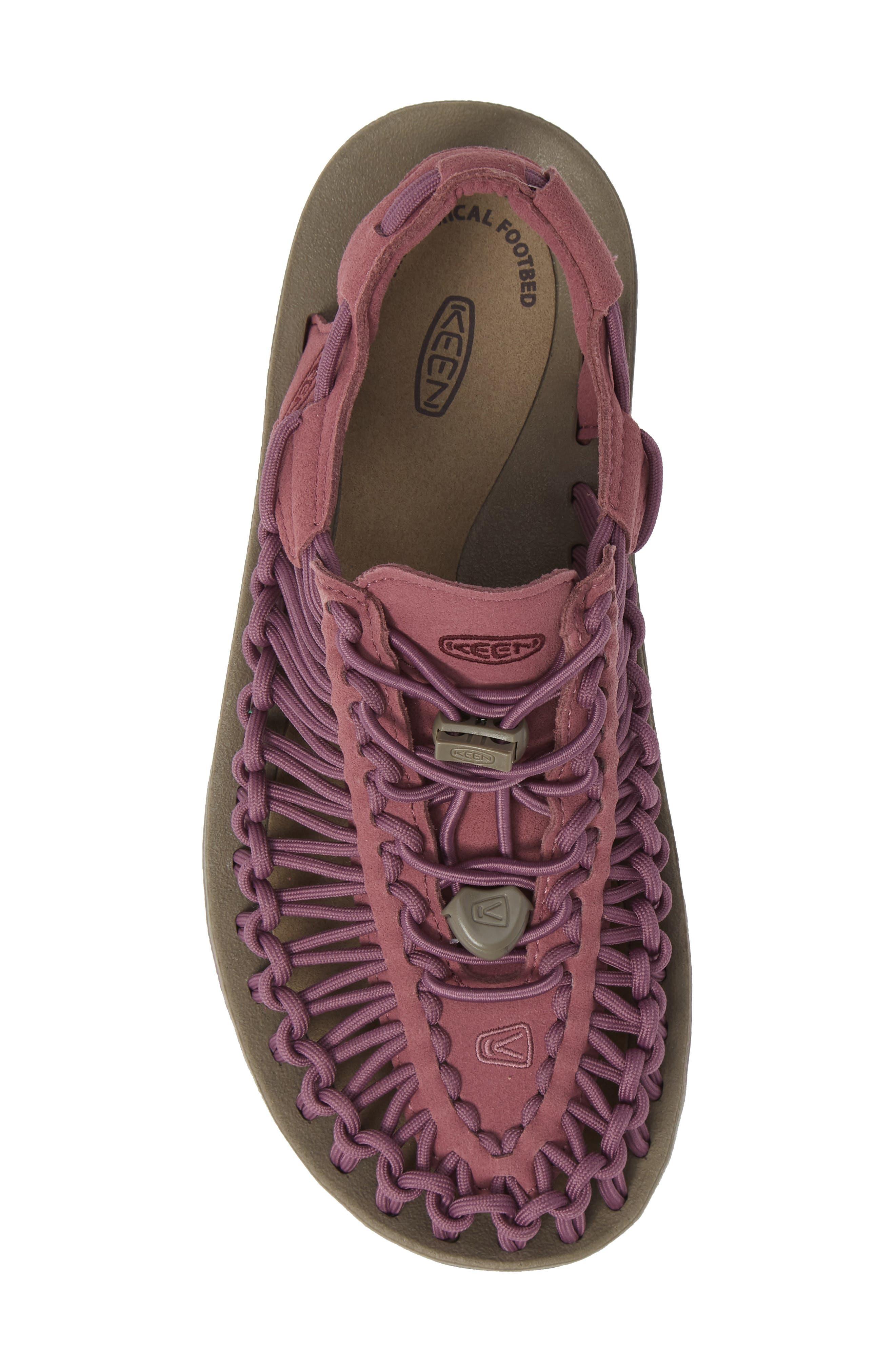 KEEN, 'Uneek' Water Sneaker, Alternate thumbnail 5, color, TULIPWOOD/ WINETASTING